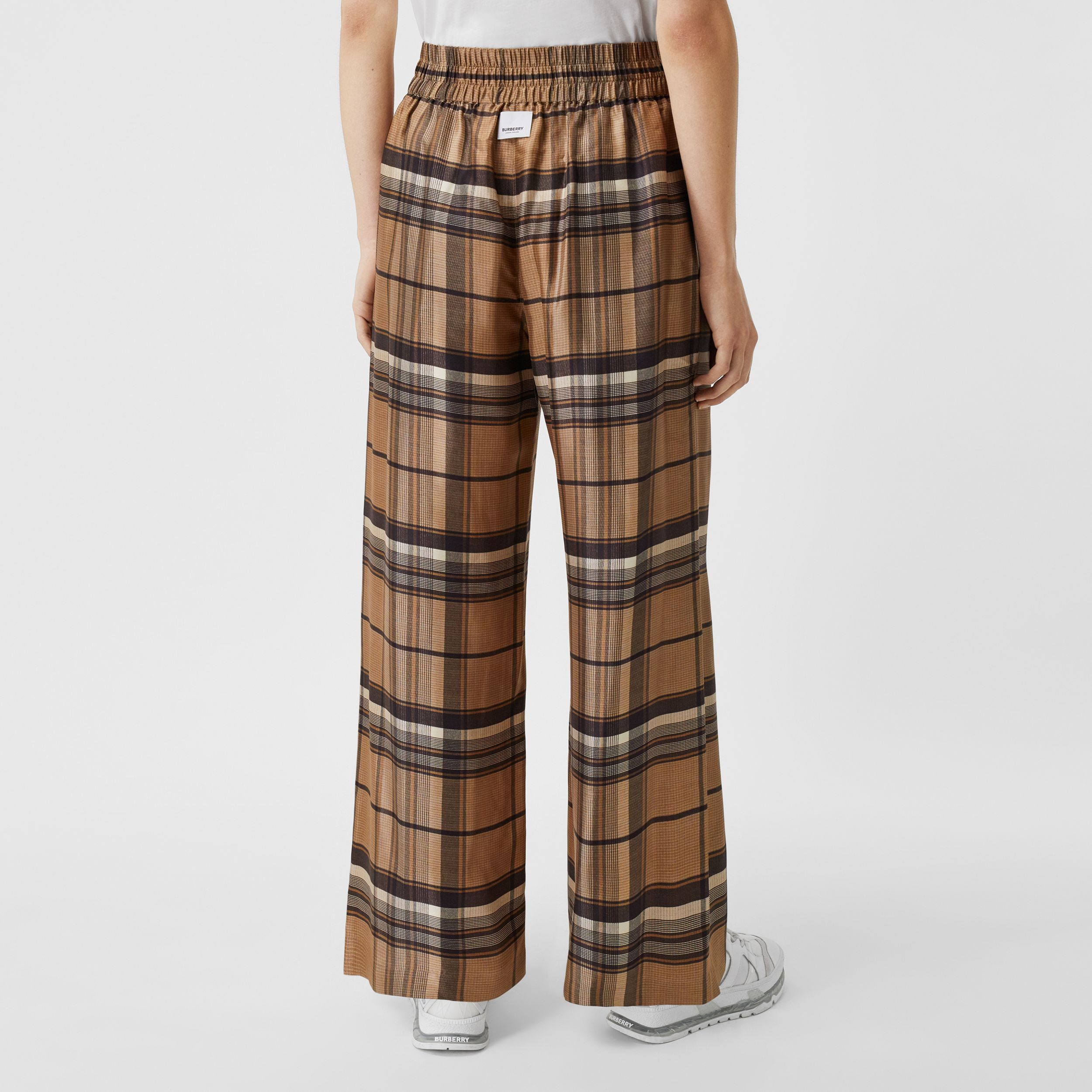 Check Print Silk Twill Wide-leg Trousers in Dark Tan - Women | Burberry - 3