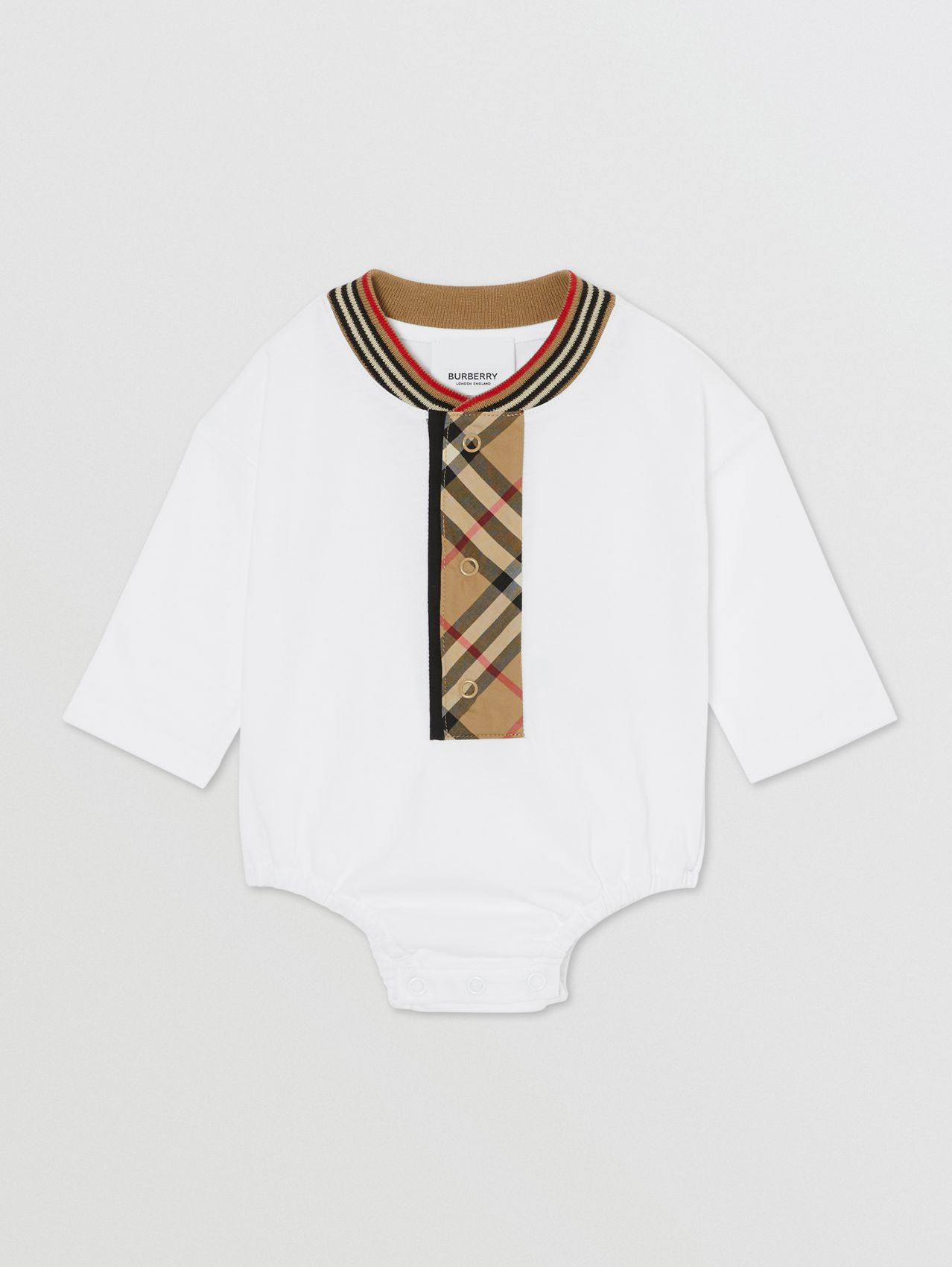 Vintage Check Trim Organic Cotton Bodysuit in White
