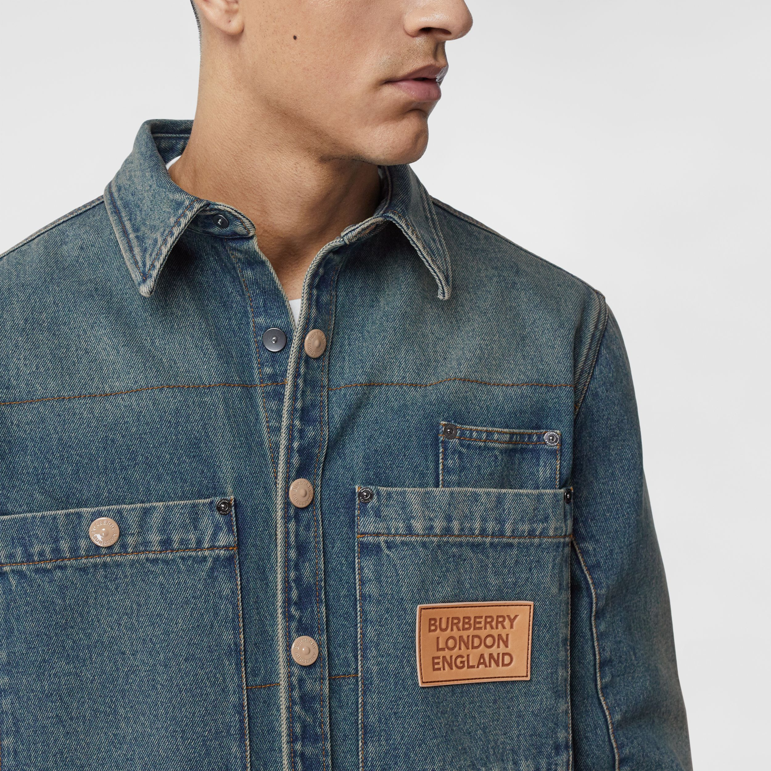 Logo Appliqué Denim Shirt in Indigo - Men | Burberry - 2