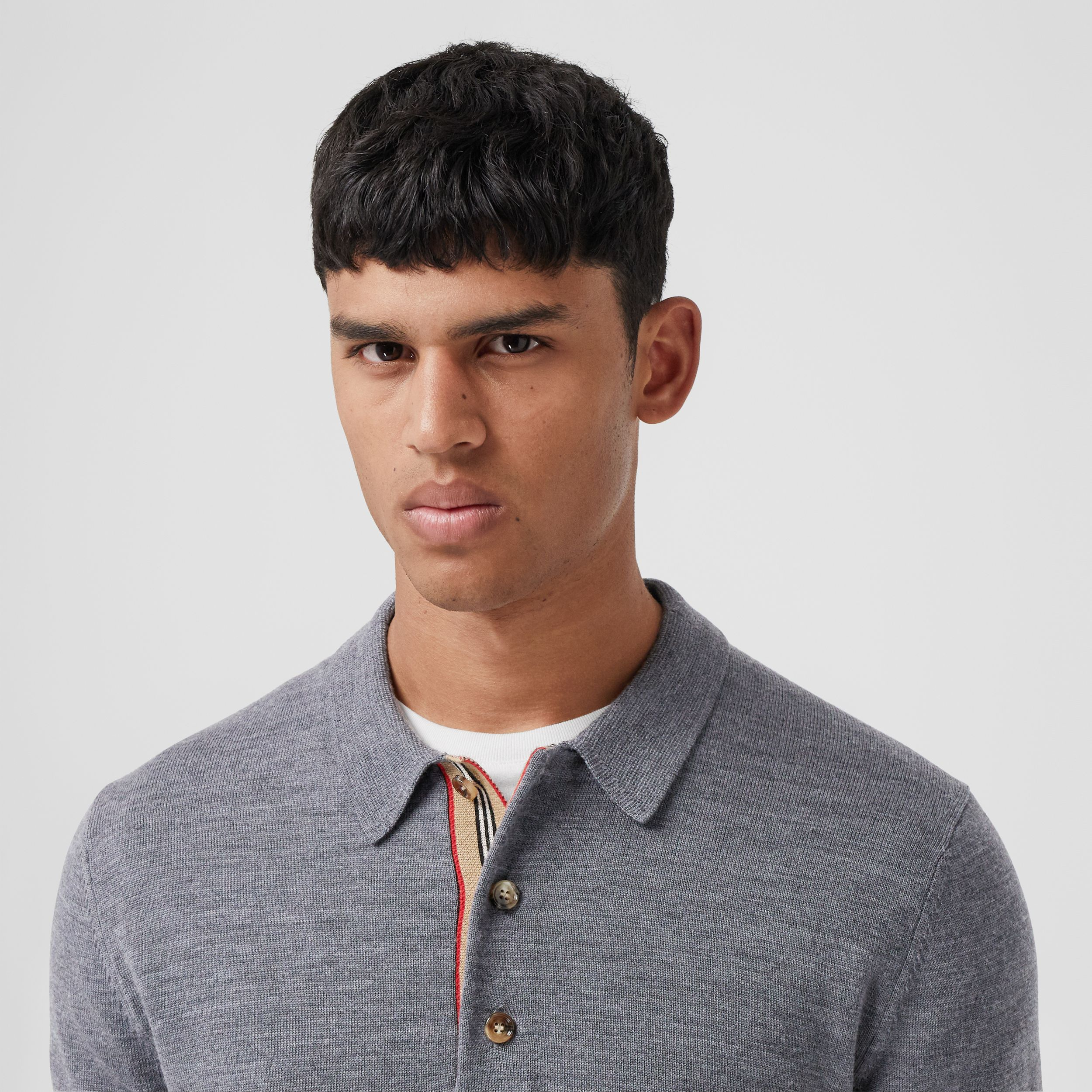 Long-sleeve Icon Stripe Detail Merino Wool Polo Shirt in Mid Grey Melange - Men | Burberry - 2