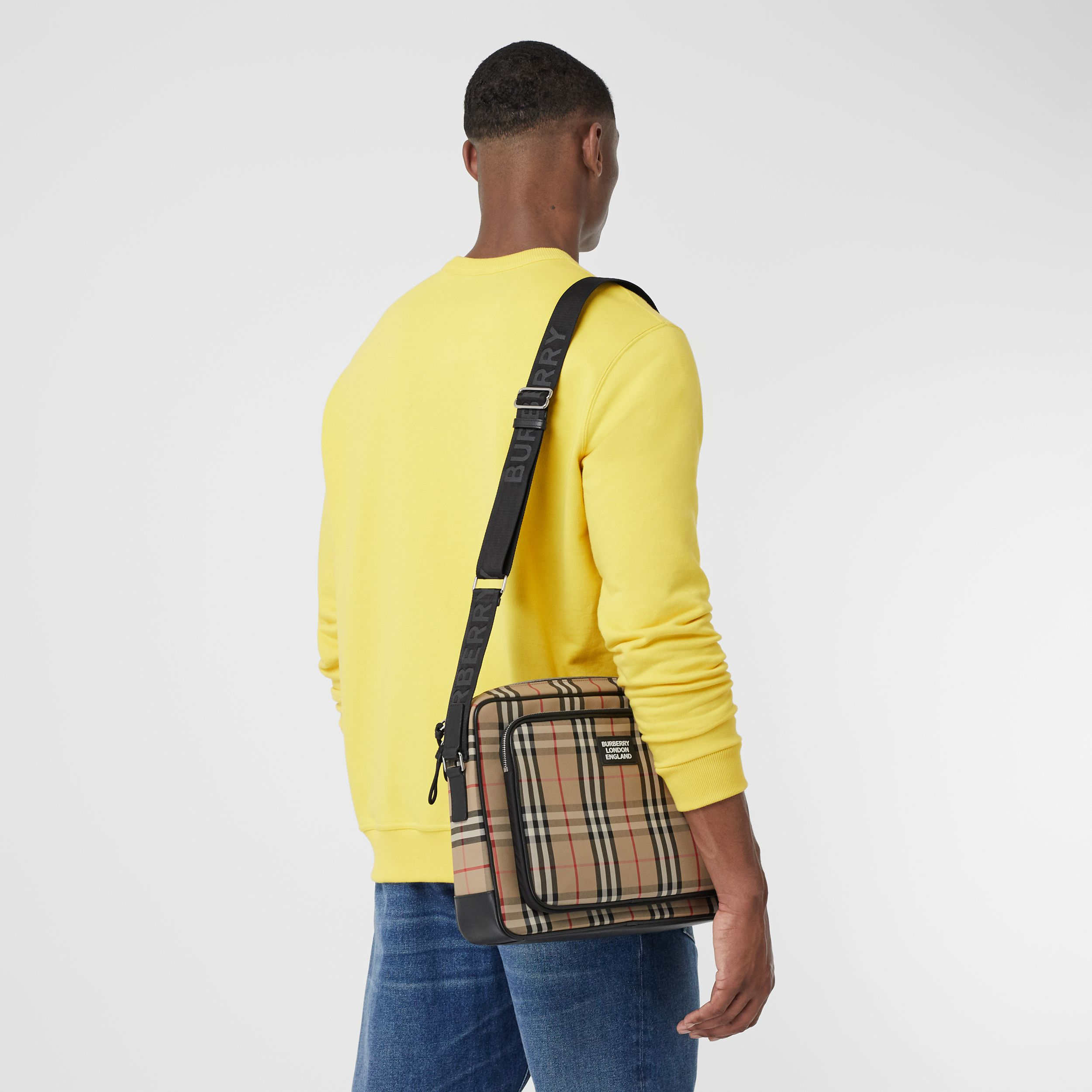 Vintage Check and Leather Crossbody Bag in Archive Beige - Men | Burberry - 4