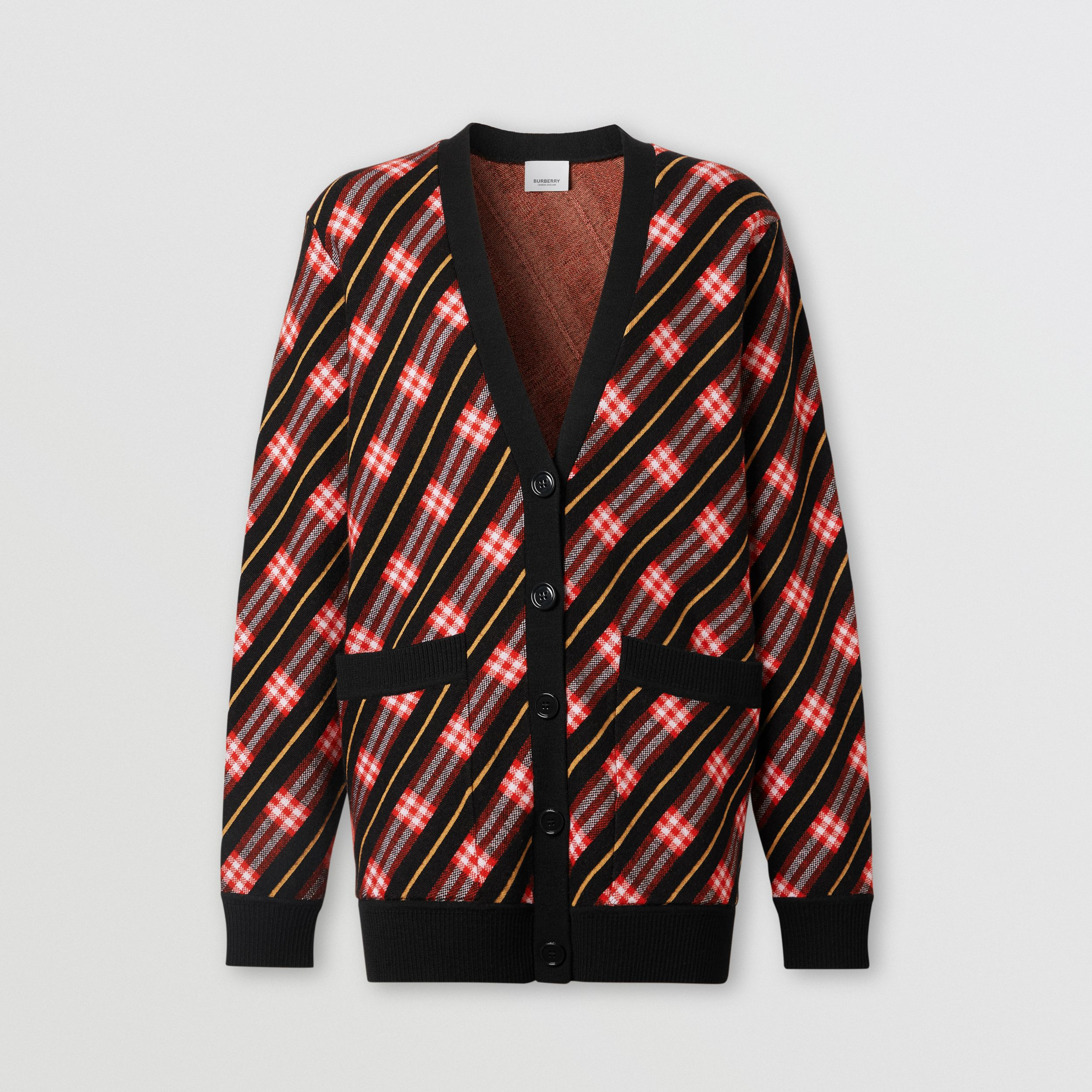 Stripe Merino Wool Blend Cardigan in Bright Red - Women | Burberry - 3
