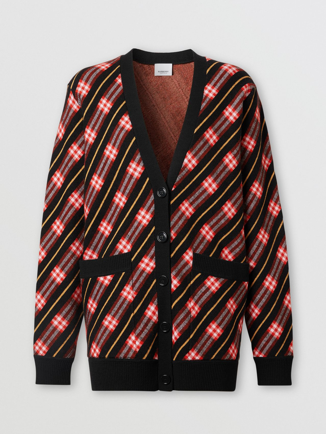 Stripe Merino Wool Blend Cardigan in Bright Red