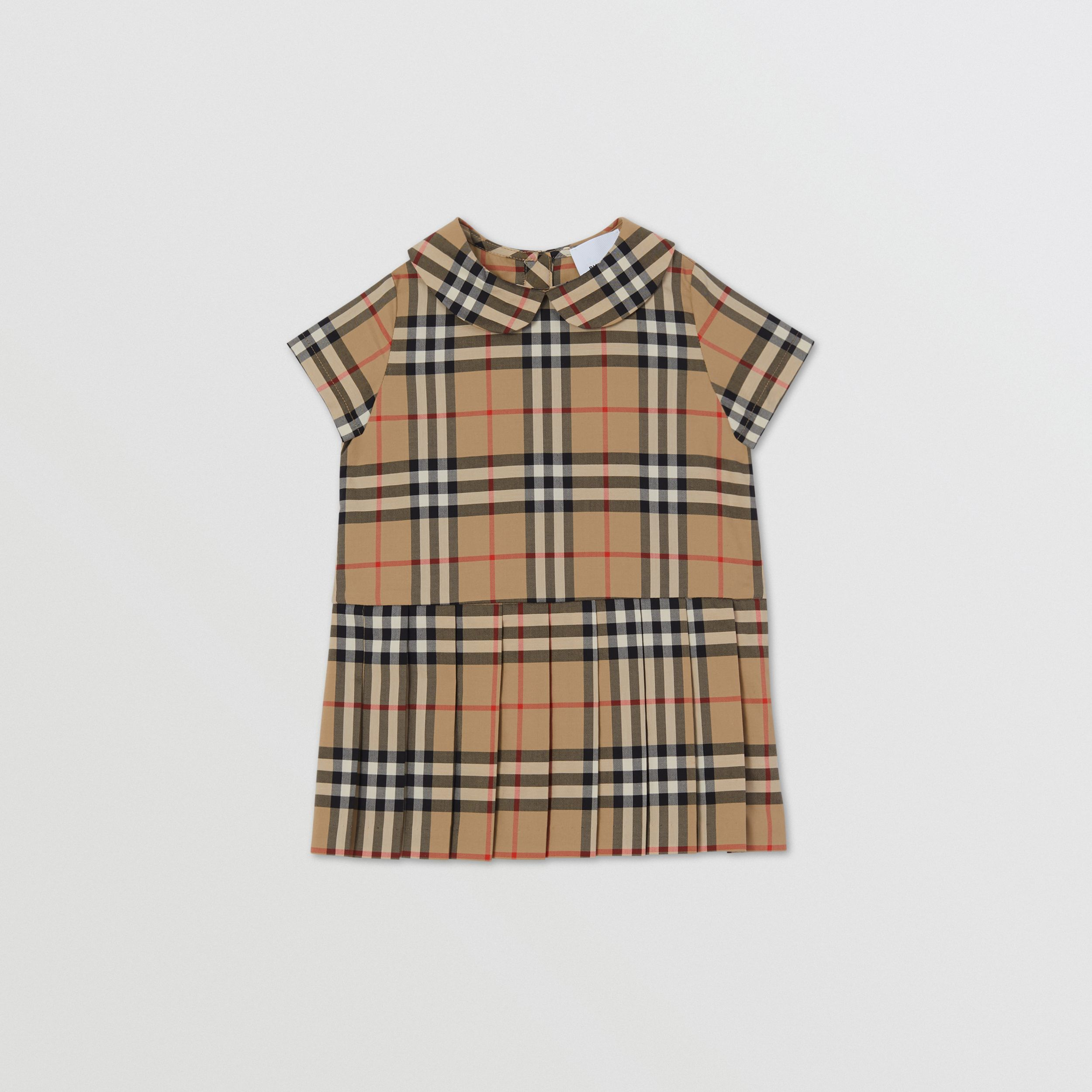 Vestitino in cotone con colletto Peter Pan e motivo Vintage check - Bambini | Burberry - 1