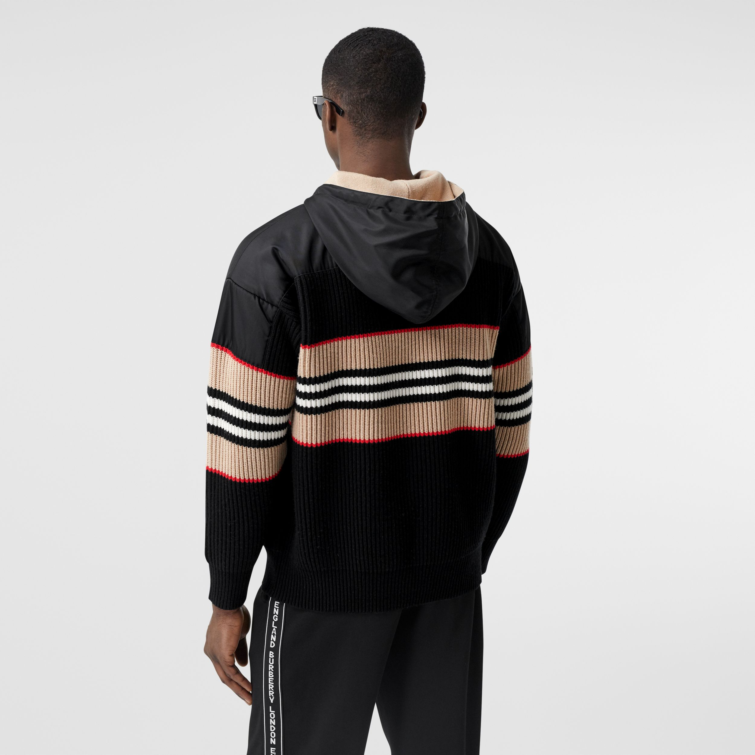 Icon Stripe Rib Knit Wool Cashmere Hoodie - Men | Burberry - 3