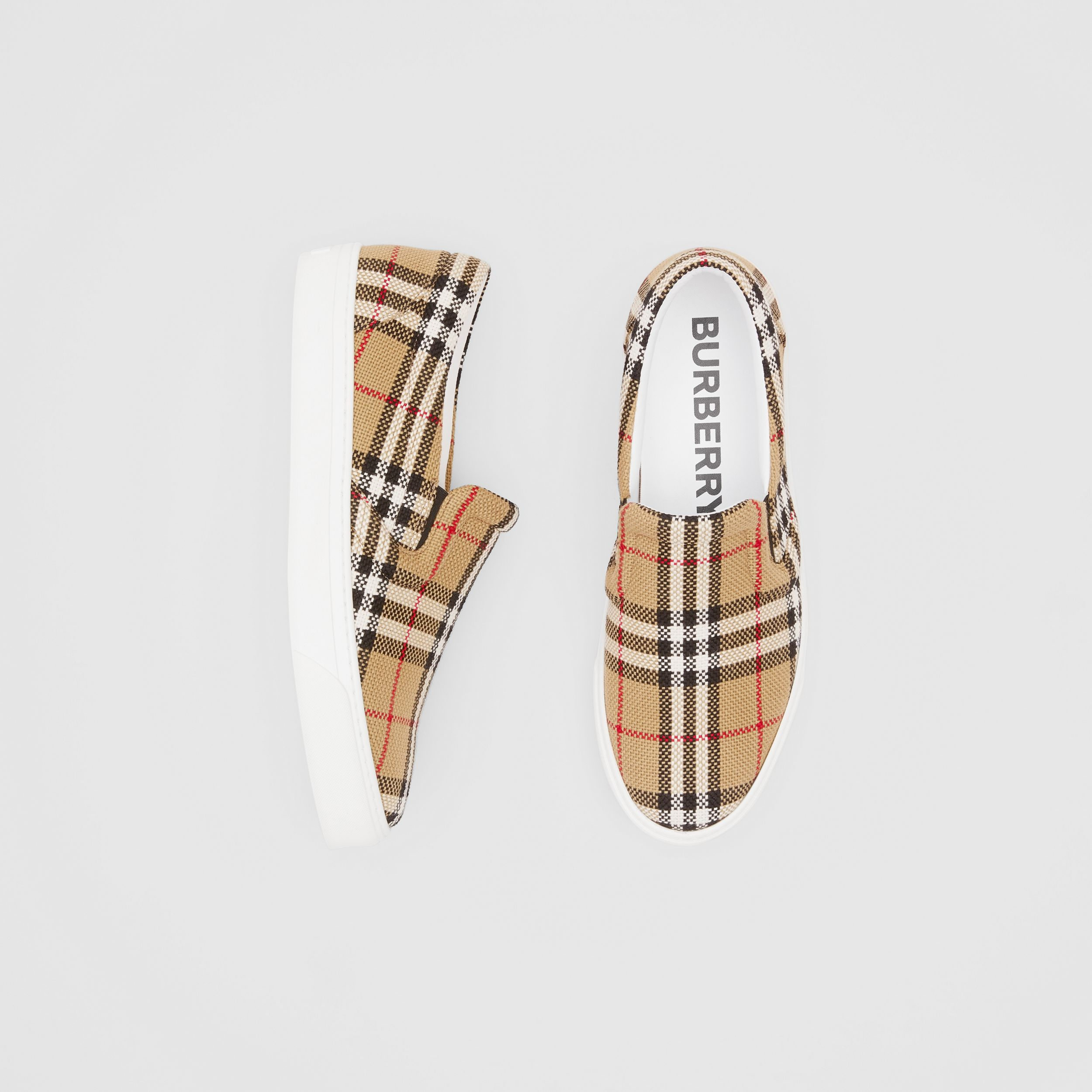 Bio-based Sole Latticed Cotton Slip-on Sneakers in Archive Beige - Men | Burberry Singapore - 1