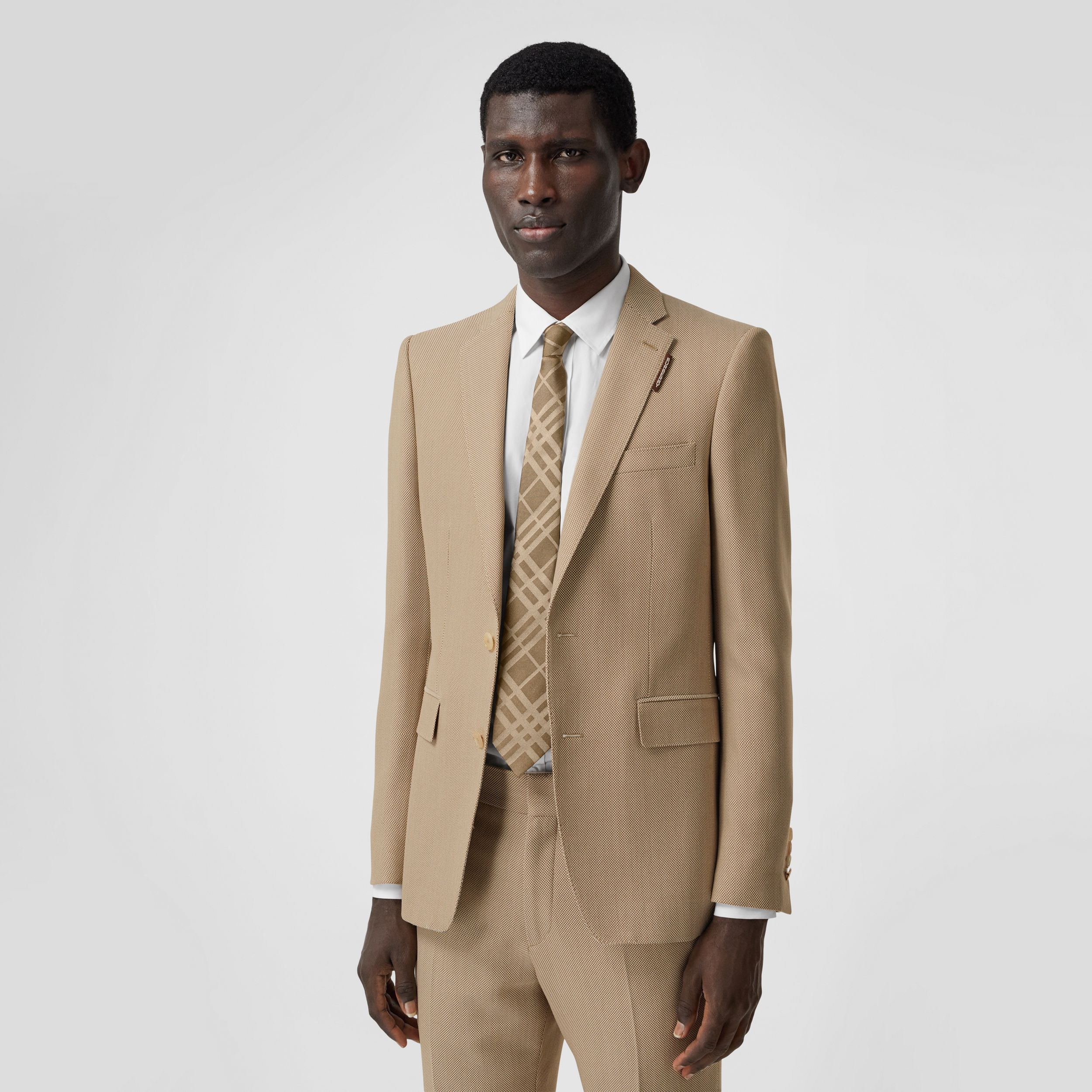 English Fit Technical Wool Canvas Tailored Jacket in Dusty Sand - Men | Burberry - 1