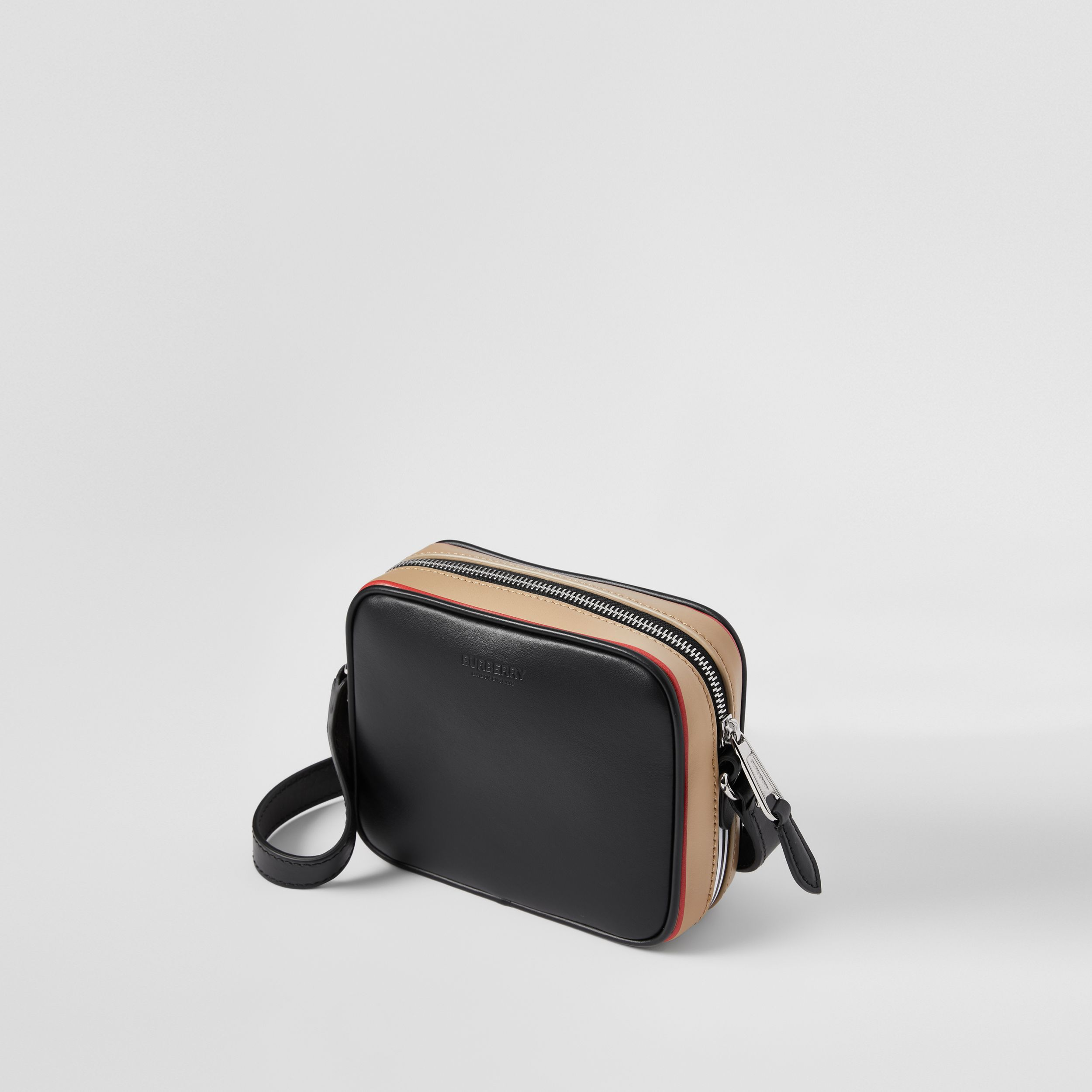 Icon Stripe Print Leather Crossbody Bag in Black | Burberry - 3