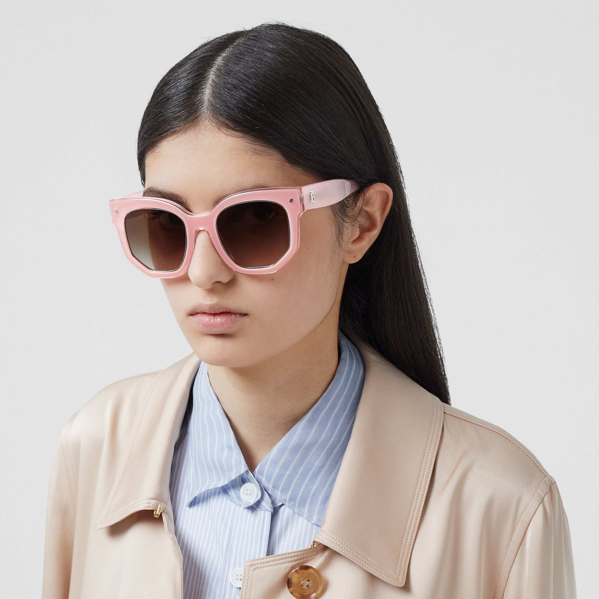 Geometric Frame Sunglasses in Pink - Women | Burberry United Kingdom - 3
