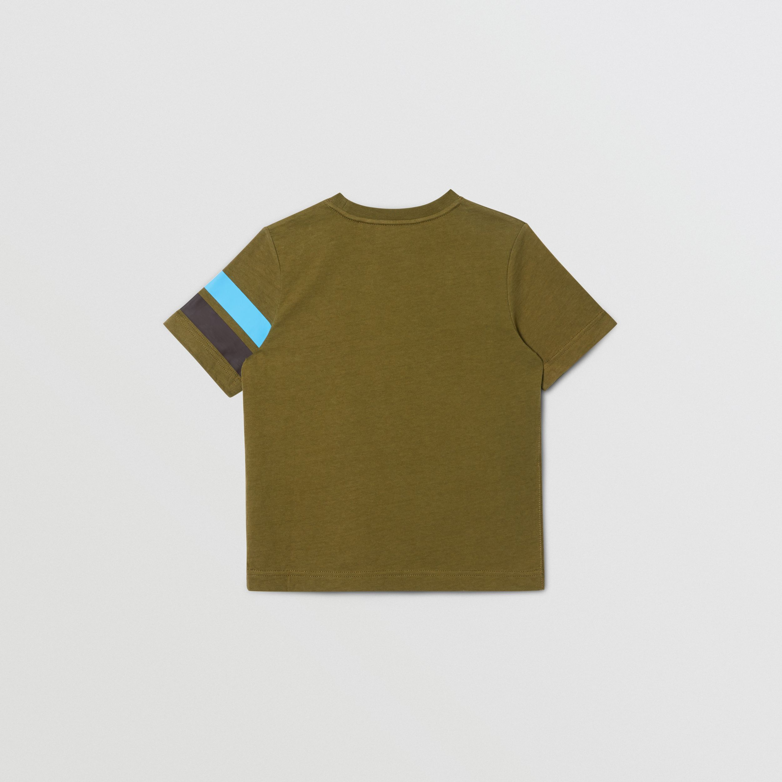 Logo and Stripe Print Cotton T-shirt in Khaki Green Melange | Burberry - 4