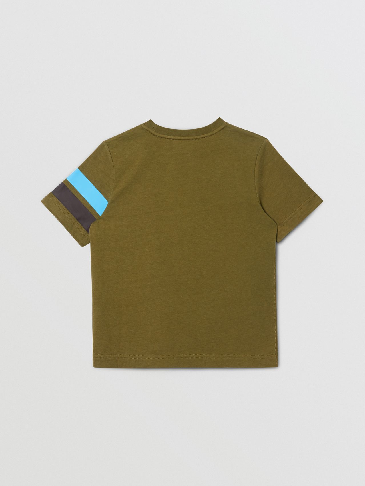 Logo and Stripe Print Cotton T-shirt in Khaki Green Melange