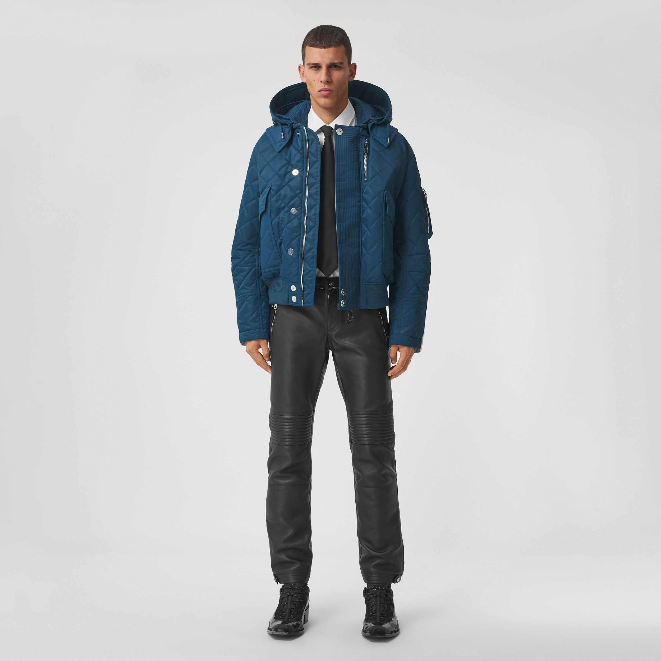 Detachable Hood Quilted Nylon and Cotton Jacket in Dark Carbon Blue | Burberry - 1