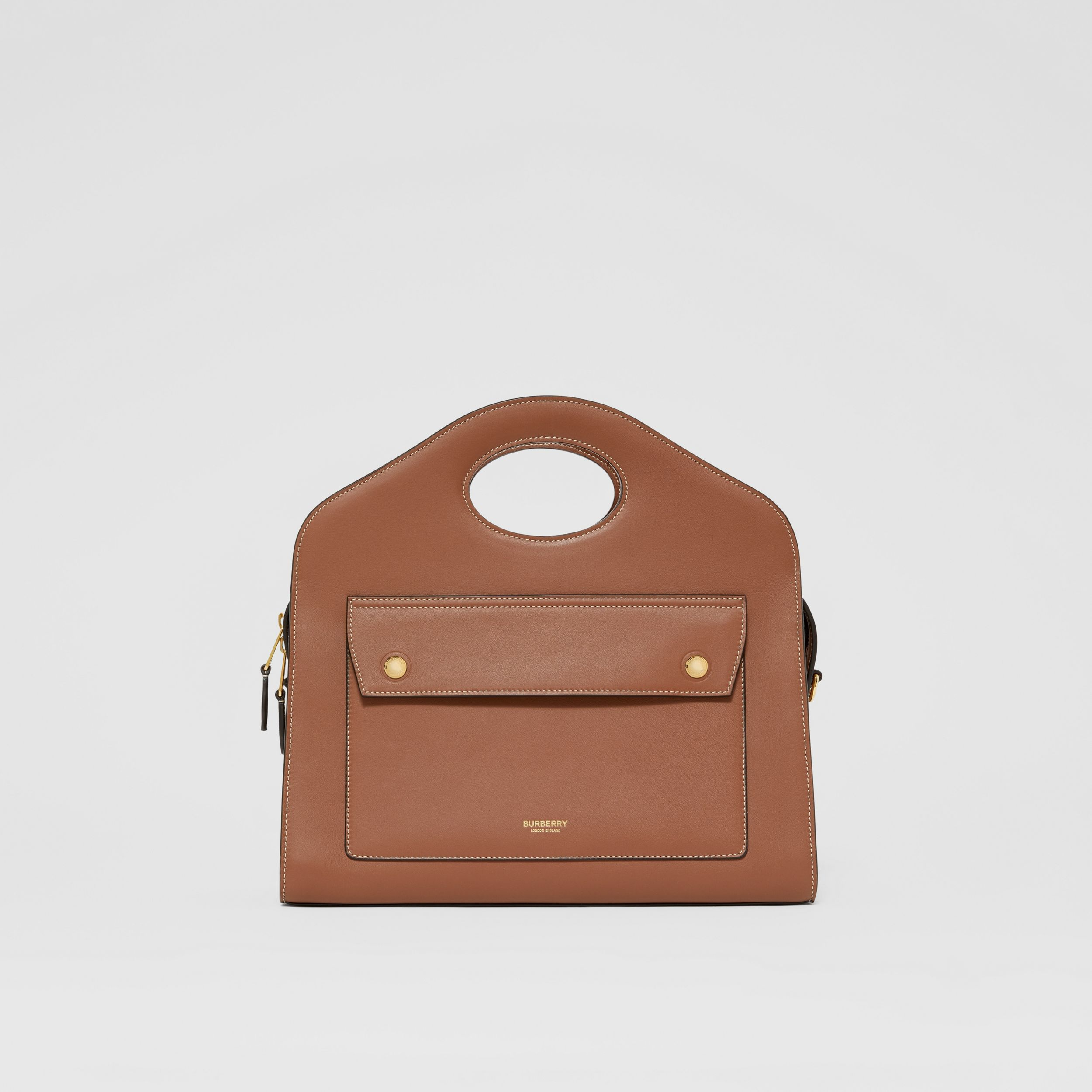 Small Topstitched Leather Pocket Tote in Malt Brown - Women | Burberry Singapore - 1
