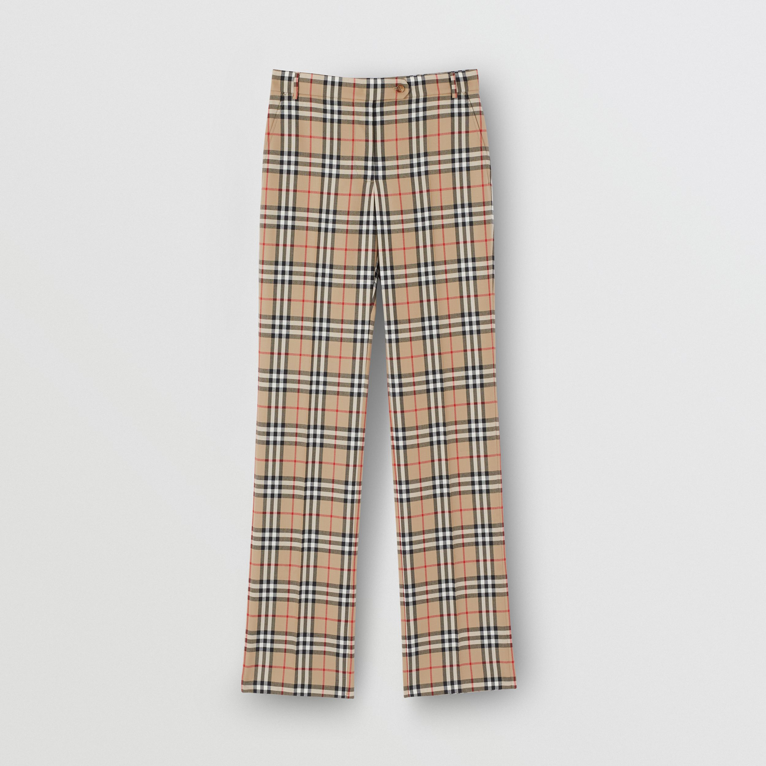 Vintage Check Wool Tailored Trousers in Archive Beige - Women | Burberry - 4