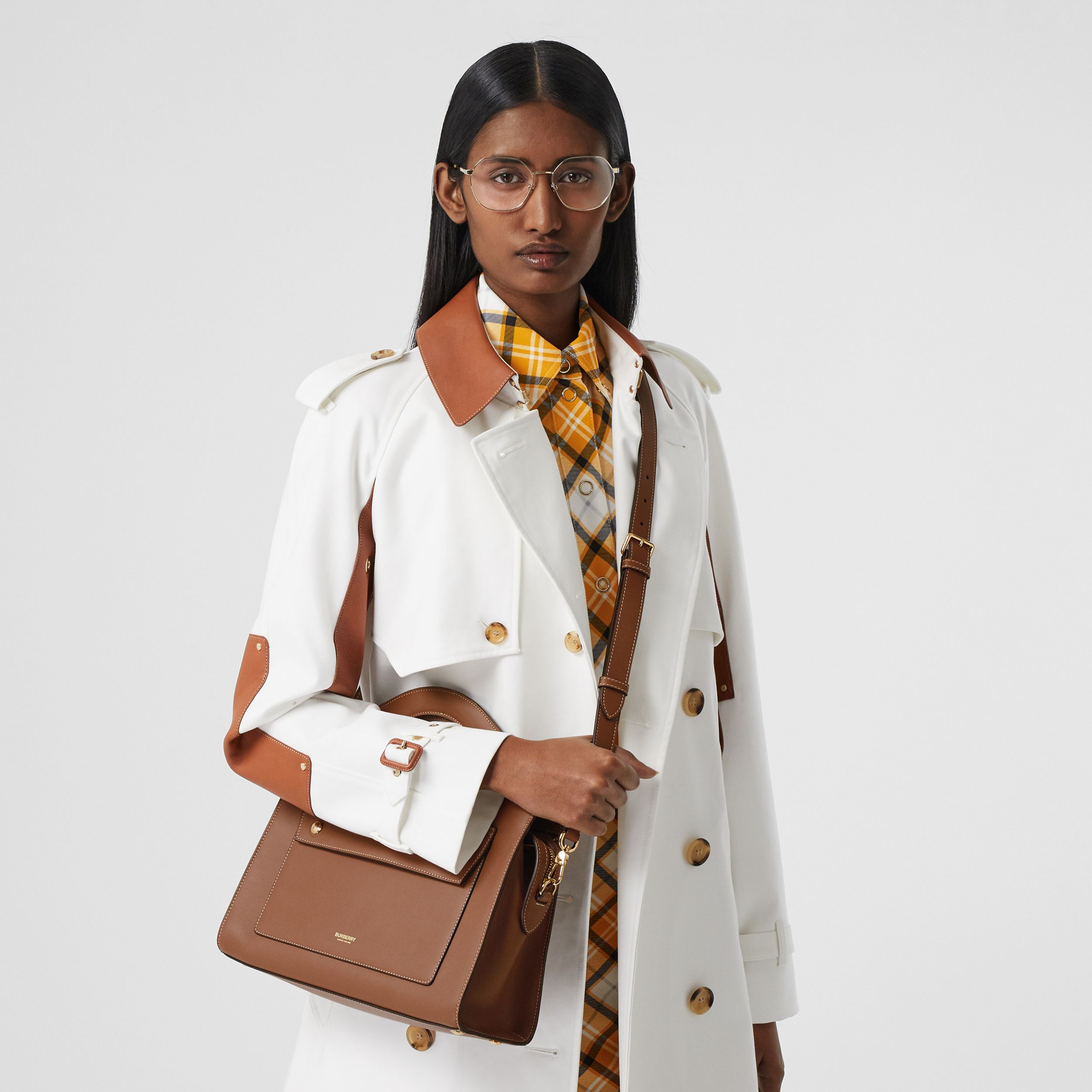 Small Topstitched Leather Pocket Tote in Malt Brown - Women | Burberry Australia - 3