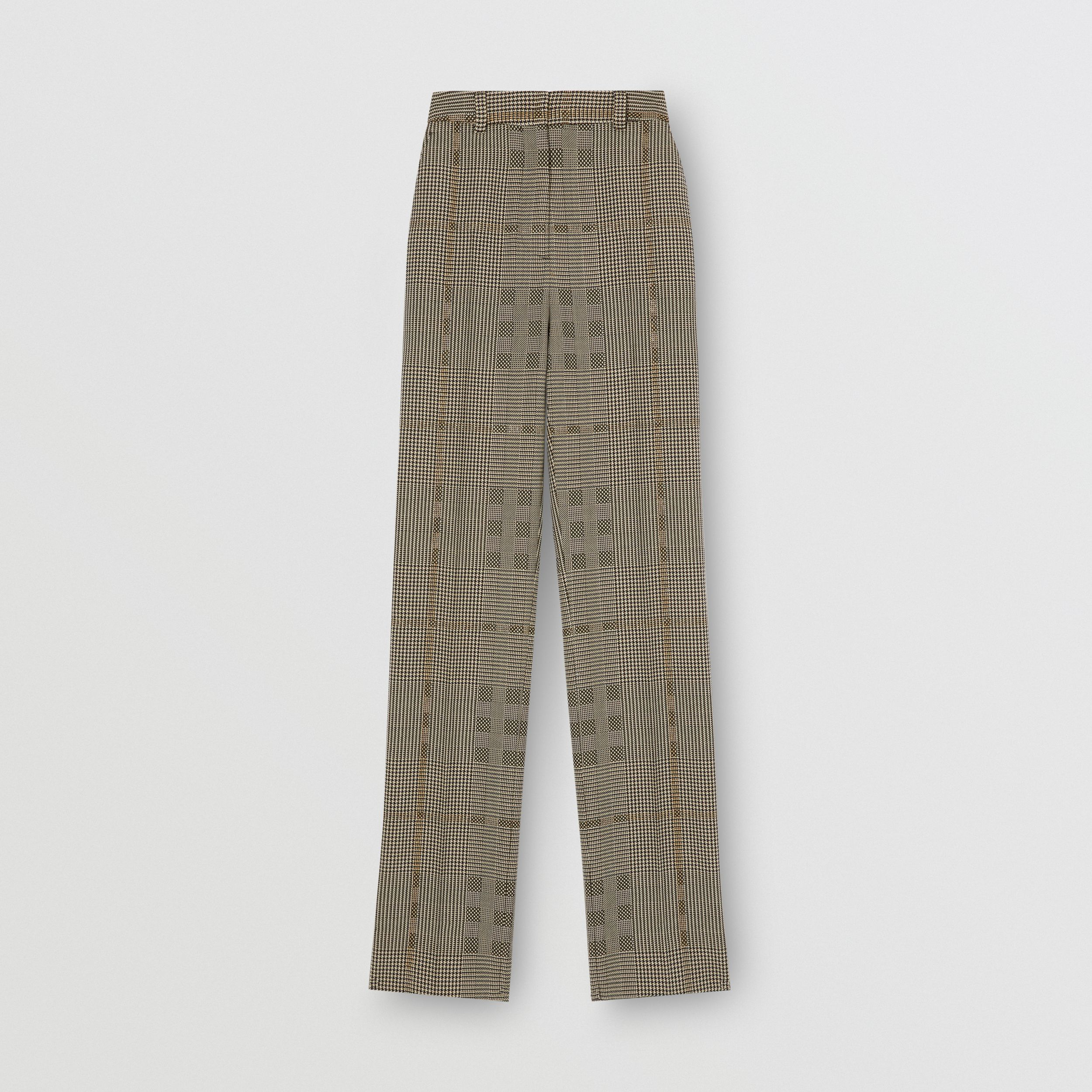 Check Wool Jacquard Tailored Trousers in Brown - Women | Burberry - 4