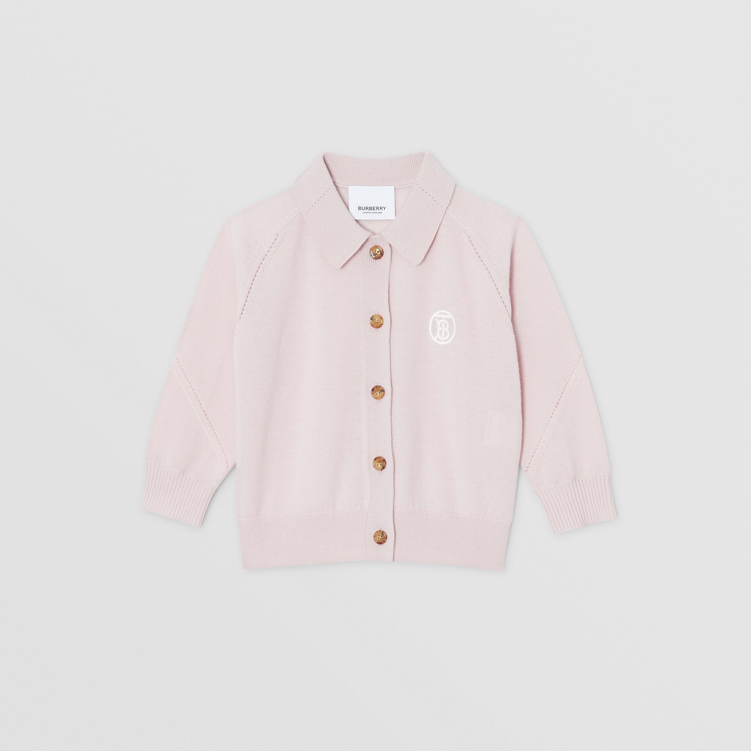 Monogram Motif Merino Wool Cardigan in Light Pink - Children | Burberry - 1
