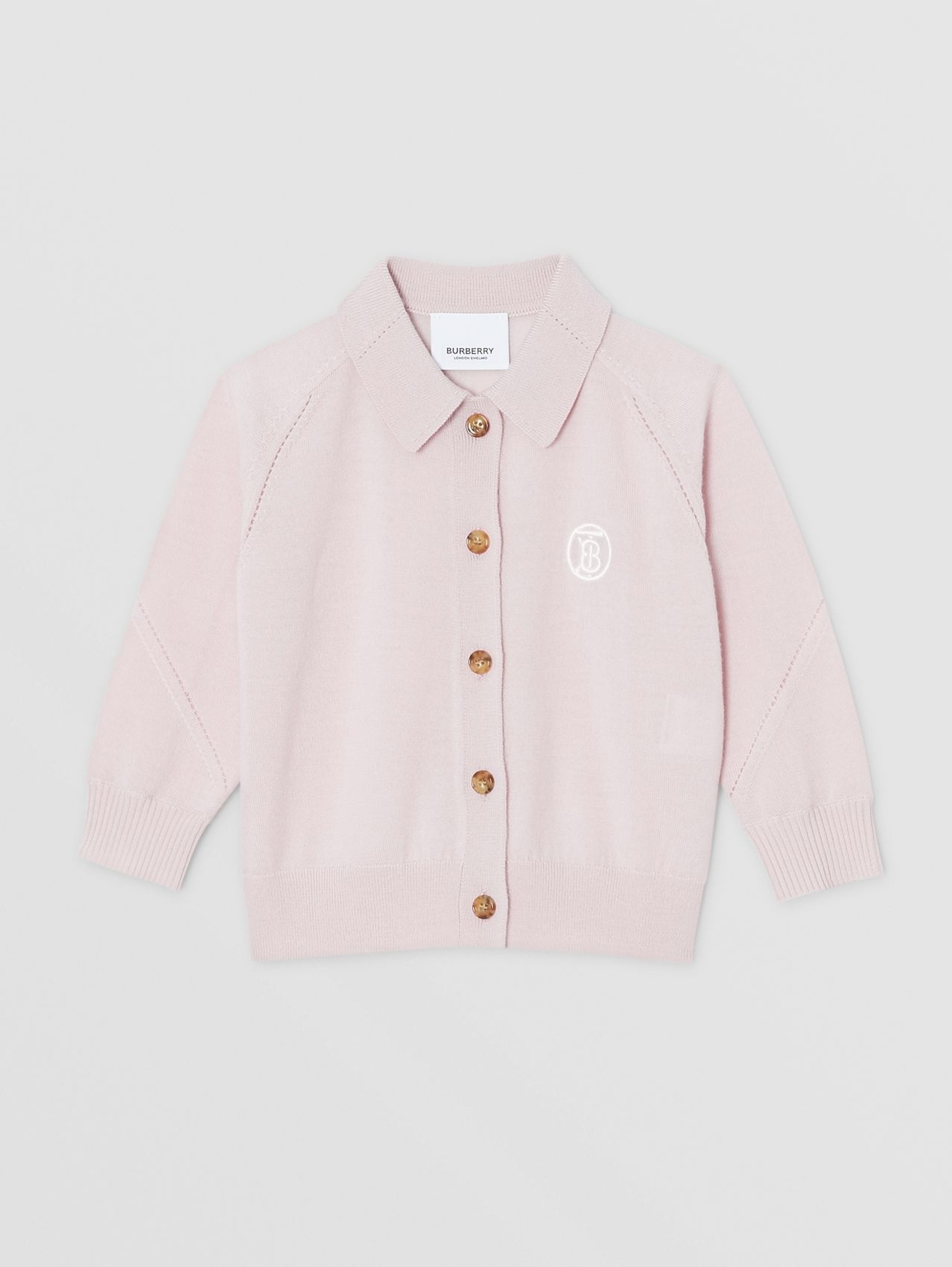 Monogram Motif Merino Wool Cardigan in Light Pink