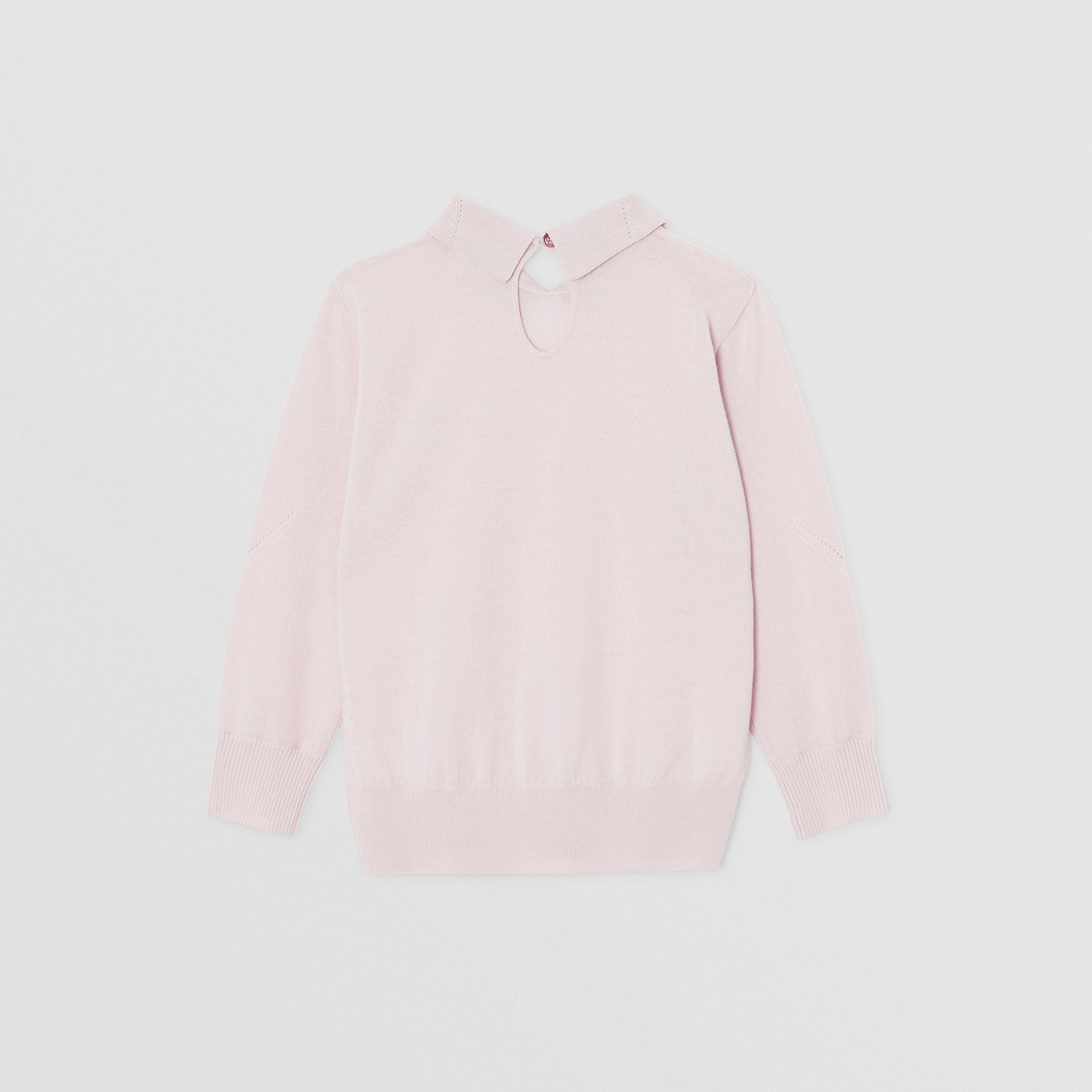 Crystal Monogram Motif Merino Wool Sweater in Light Pink | Burberry - 4