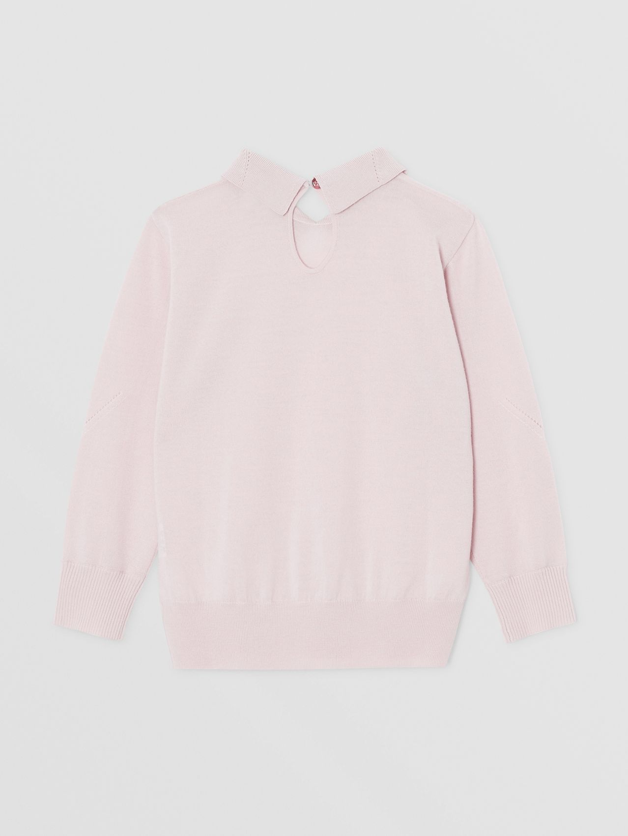 Crystal Monogram Motif Merino Wool Sweater in Light Pink