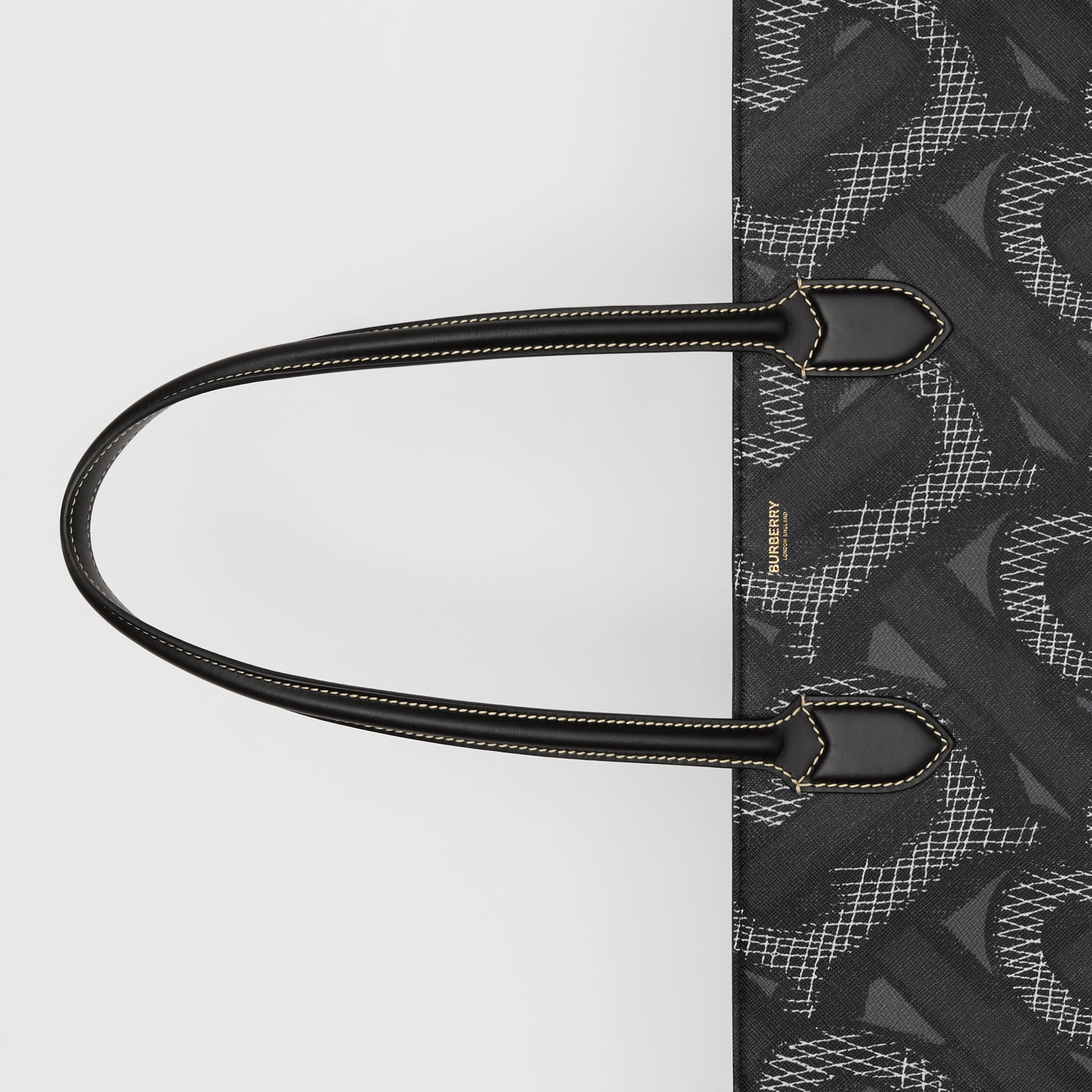 Monogram Print E-canvas Tote Bag in Graphite | Burberry Australia - 2