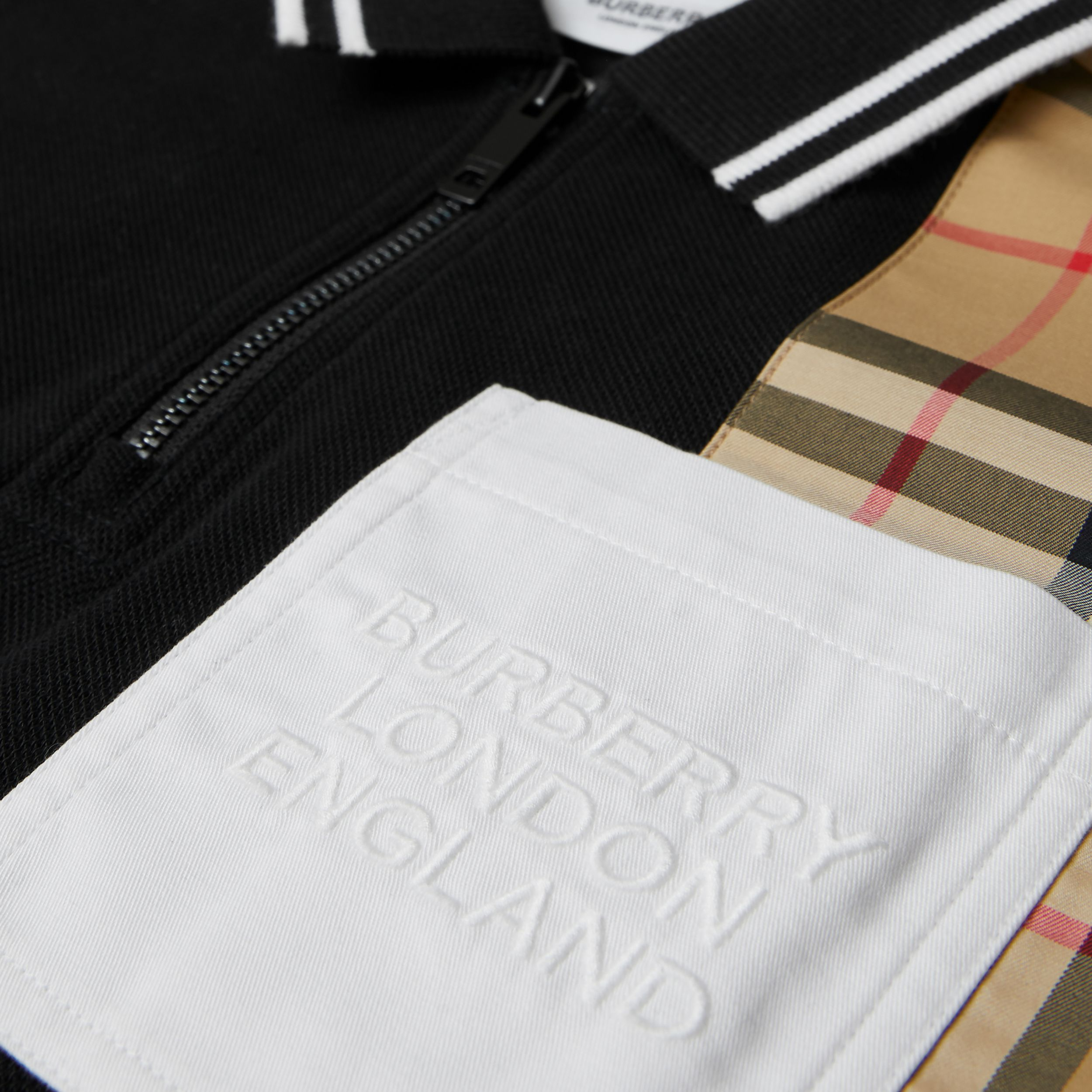 Vintage Check Panel Cotton Zip-front Polo Shirt in Black | Burberry - 2
