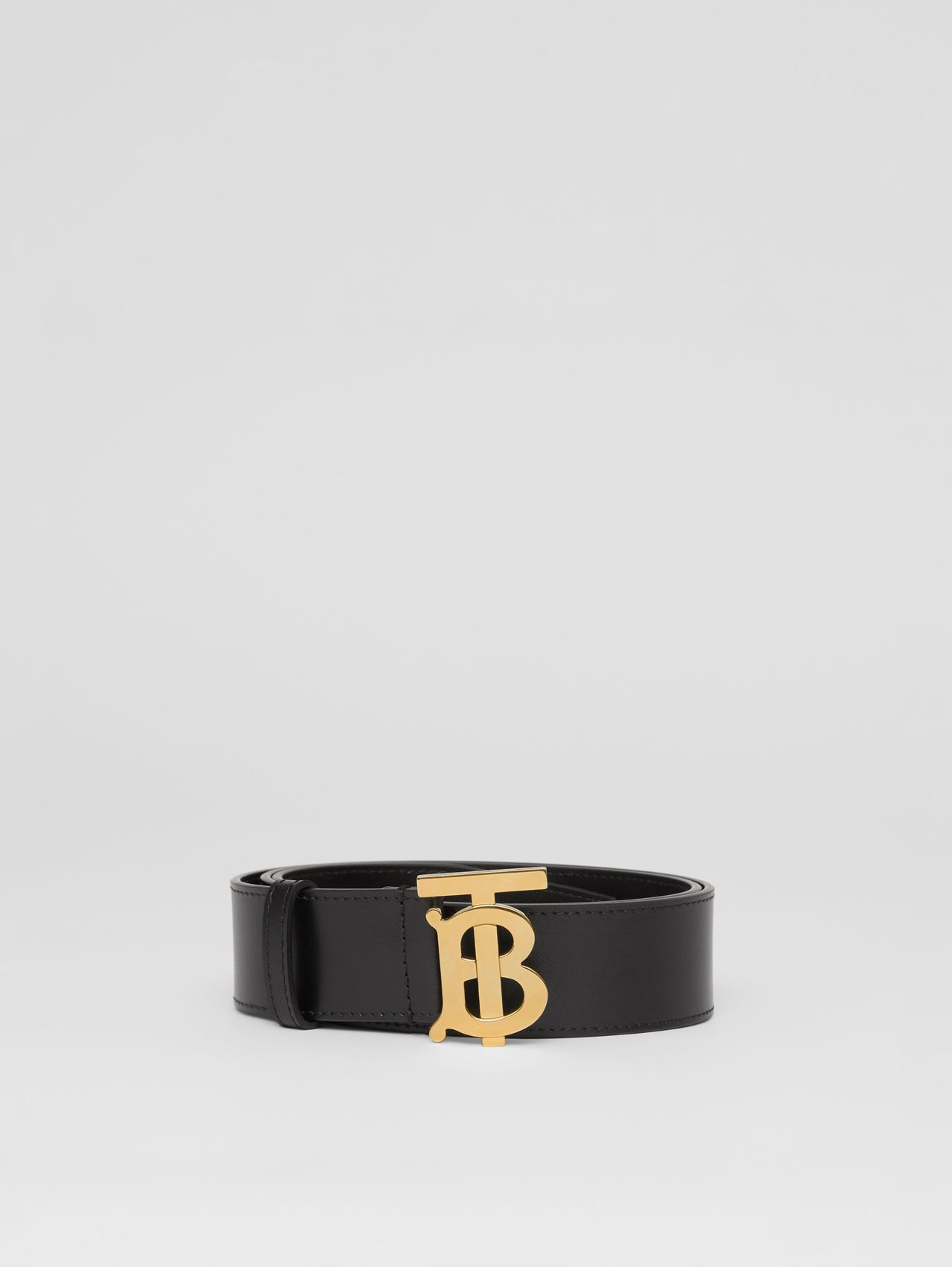 Monogram Motif Leather Belt in Black