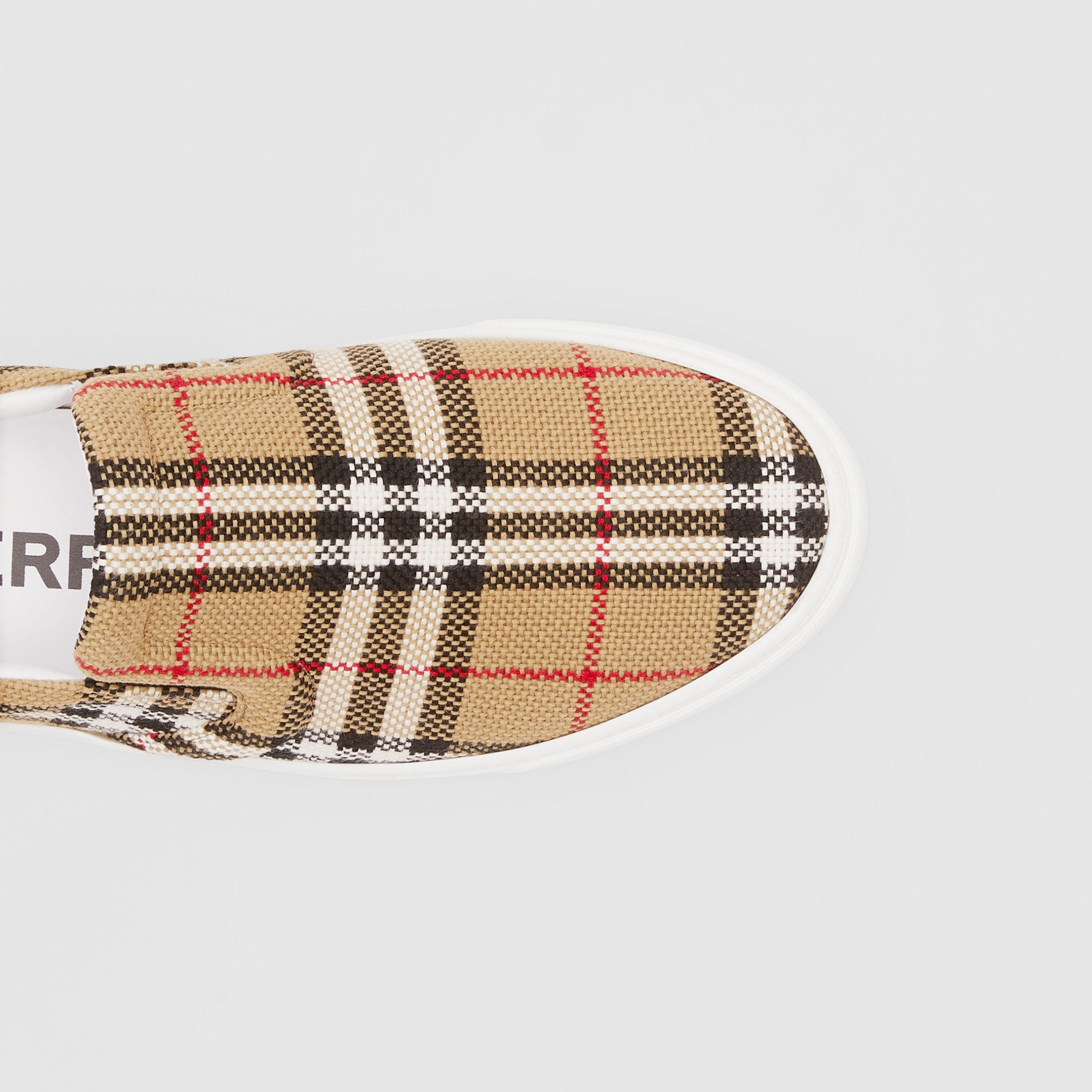 Bio-based Sole Latticed Cotton Slip-on Sneakers in Archive Beige - Men | Burberry Singapore - 2