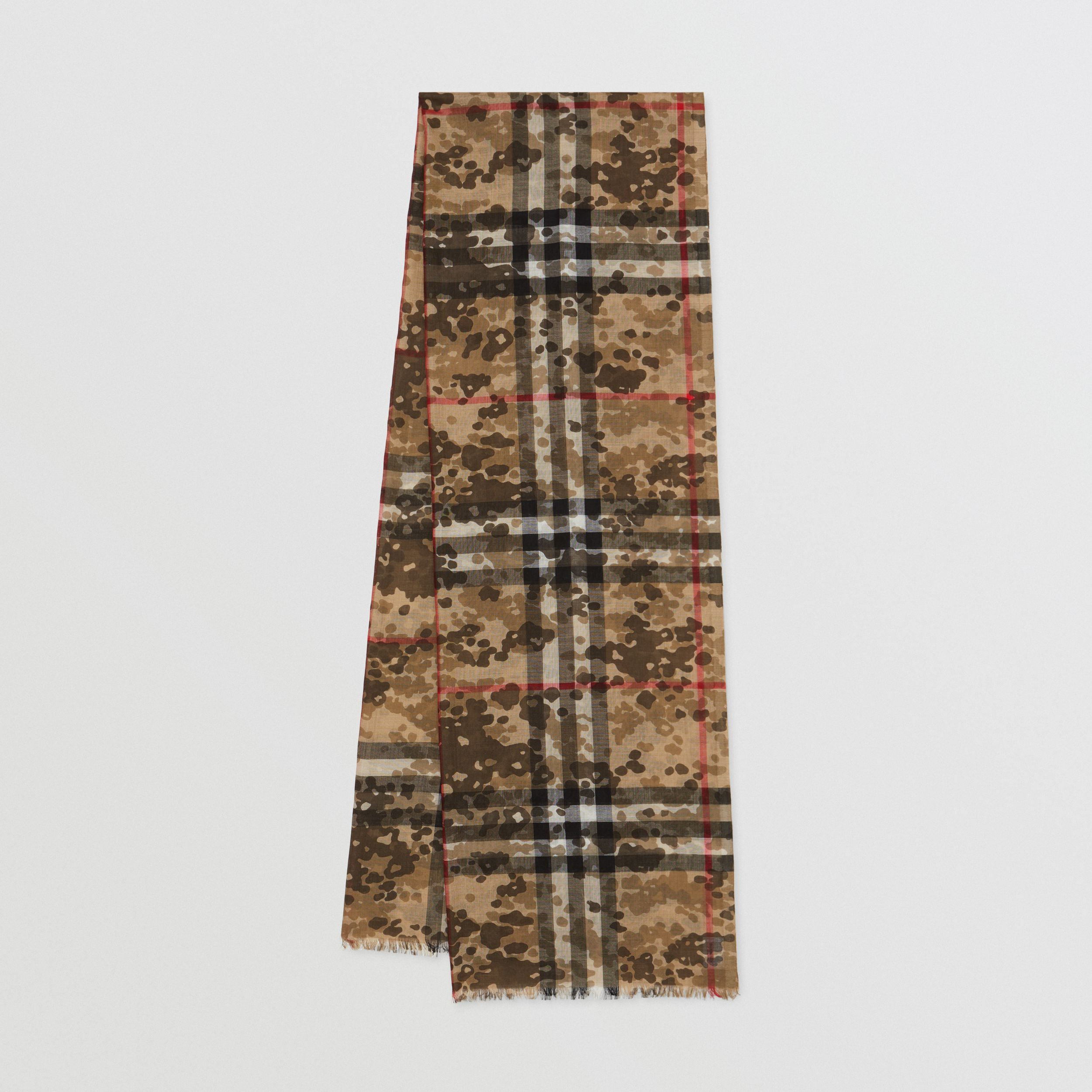 Lightweight Camouflage Check Wool Silk Scarf | Burberry - 1