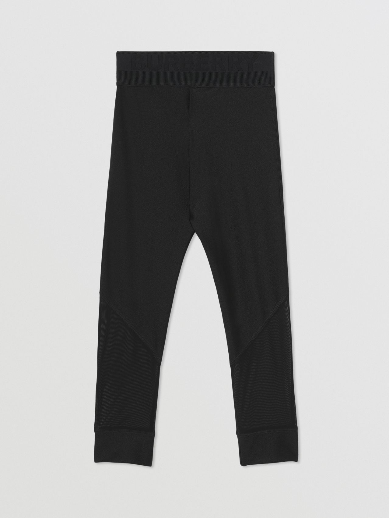 Mesh Panel Stretch Jersey Leggings in Black
