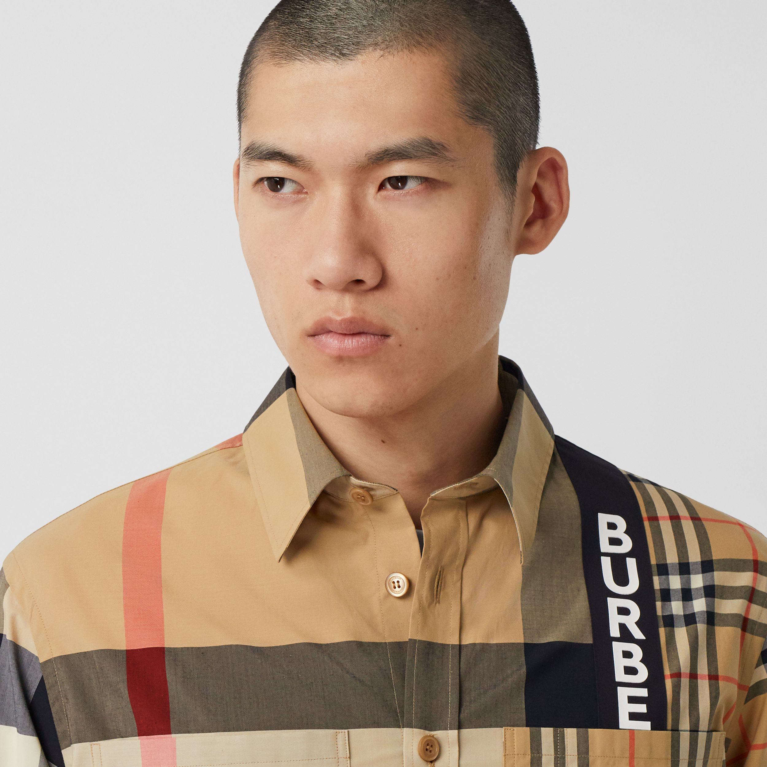 Logo Print Patchwork Check Cotton Oversized Shirt in Archive Beige - Men | Burberry - 2