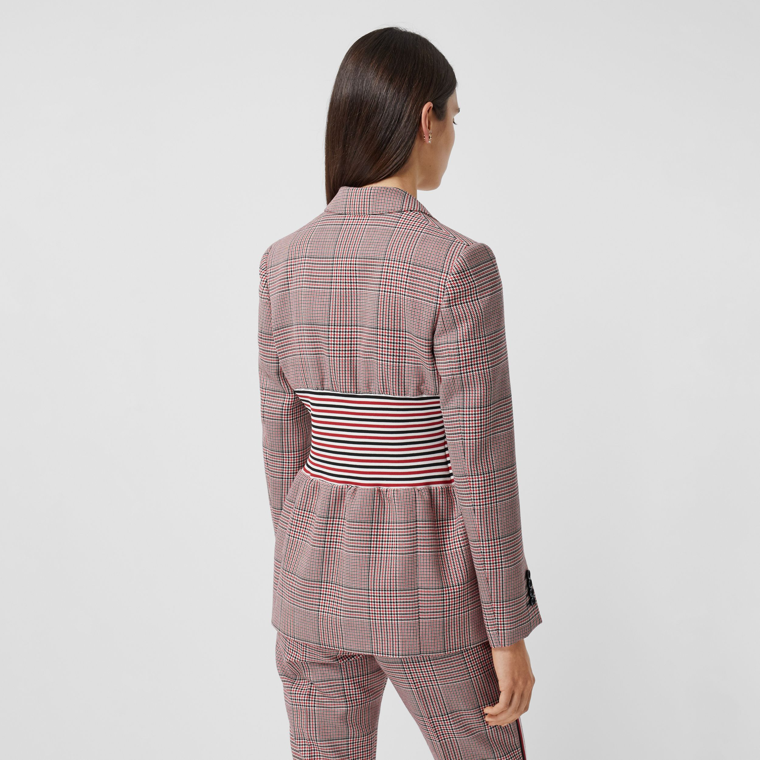Knitted Panel Houndstooth Check Wool Jacket in Bright Red - Women | Burberry United Kingdom - 3