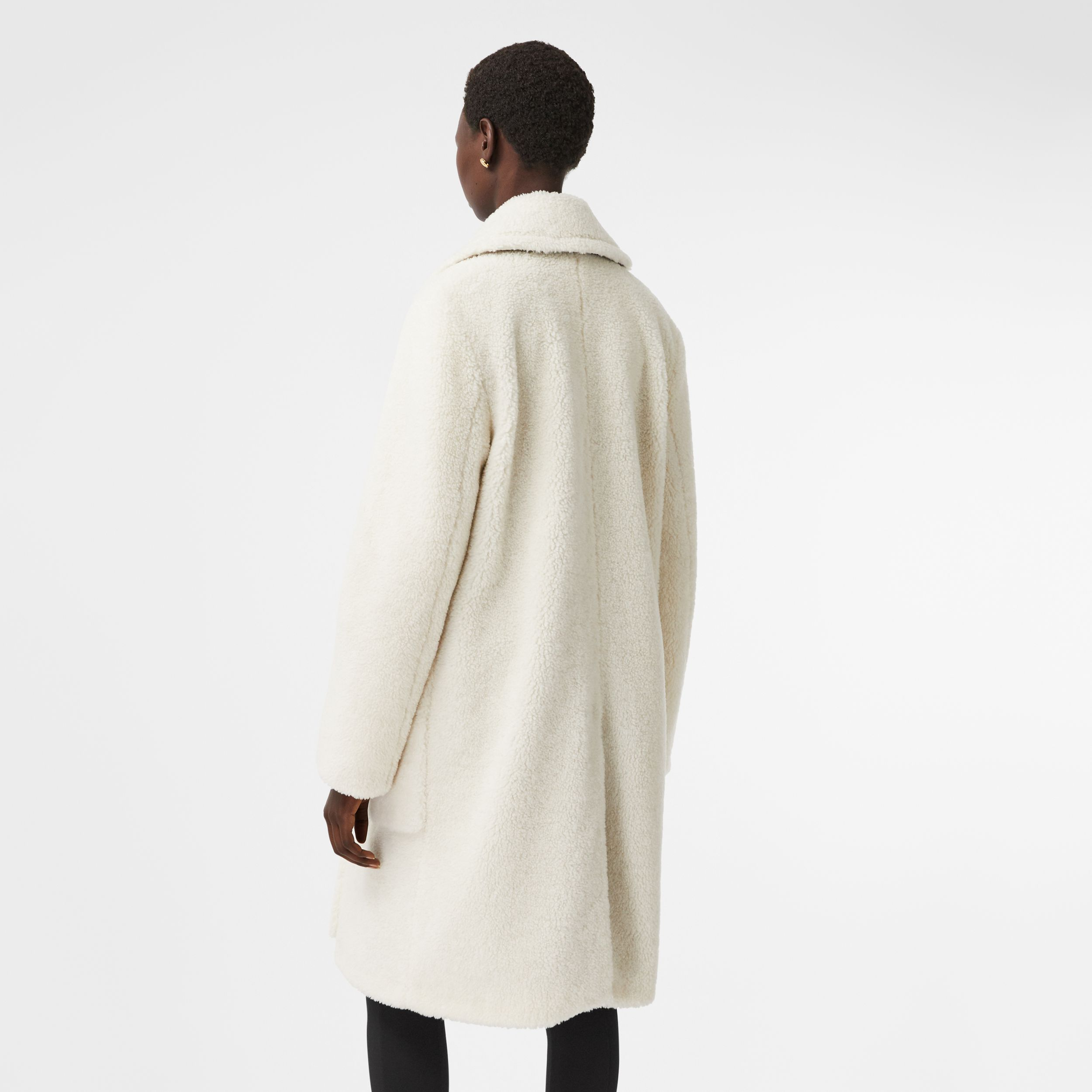 Technical Wool Fleece Double-breasted Coat in Ivory - Women | Burberry United States - 3