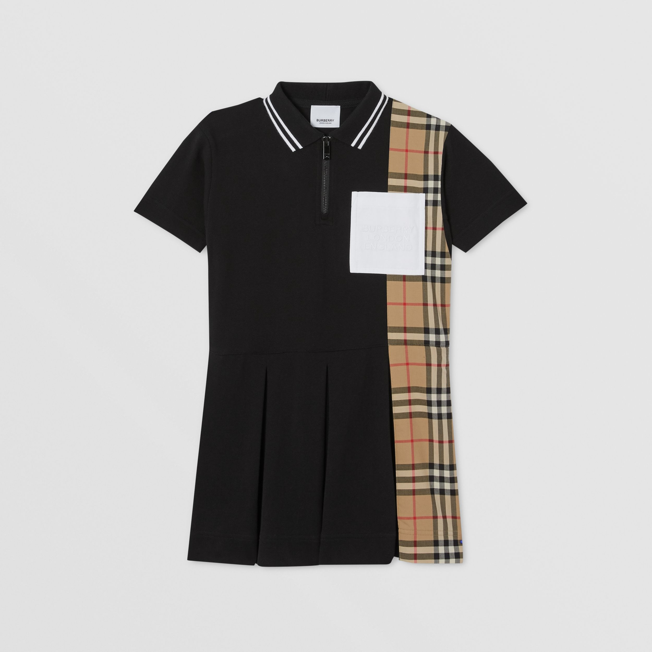 Vintage Check Panel Cotton Piqué Polo Shirt Dress in Black | Burberry - 1