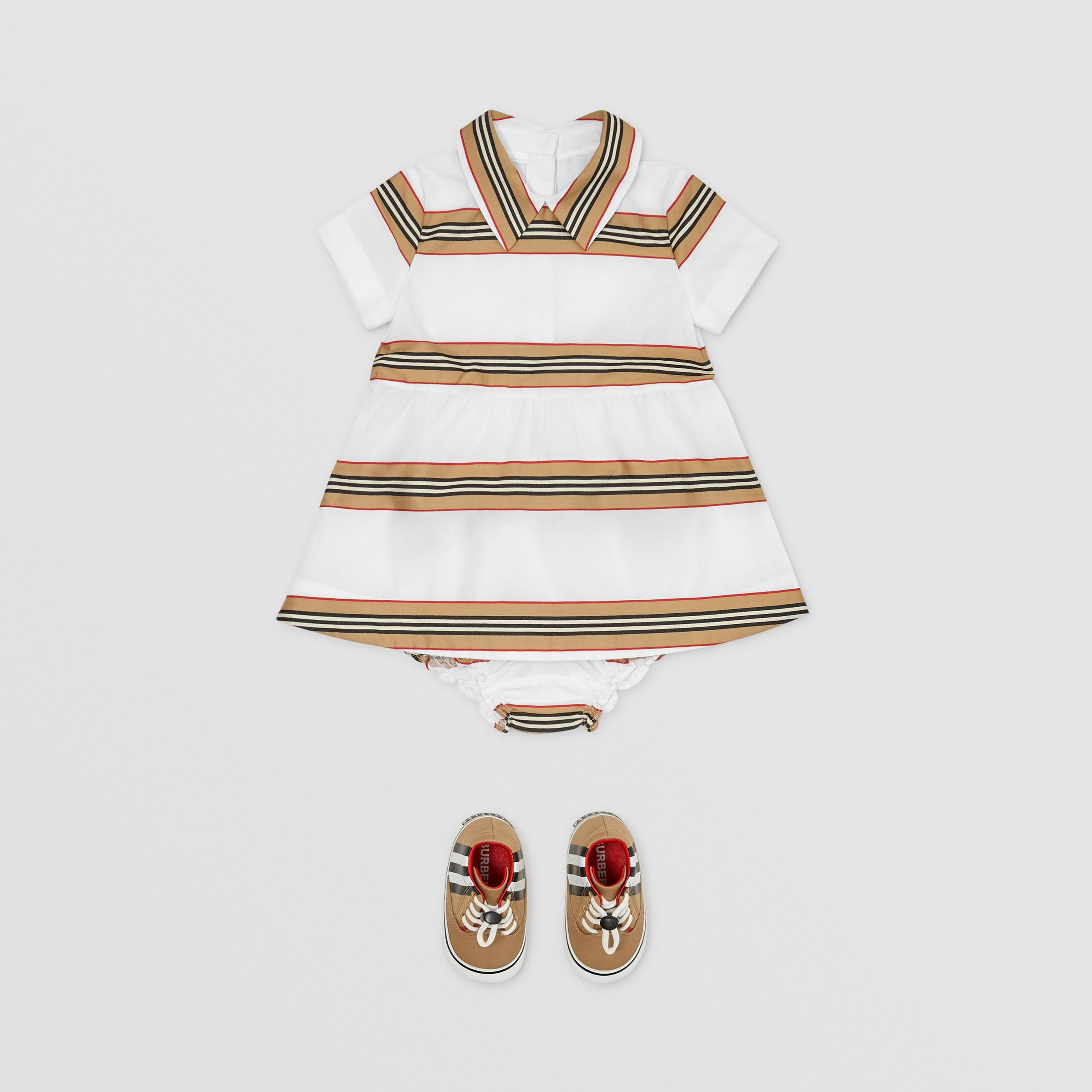 Icon Stripe Cotton Dress with Bloomers in White - Children | Burberry - 3