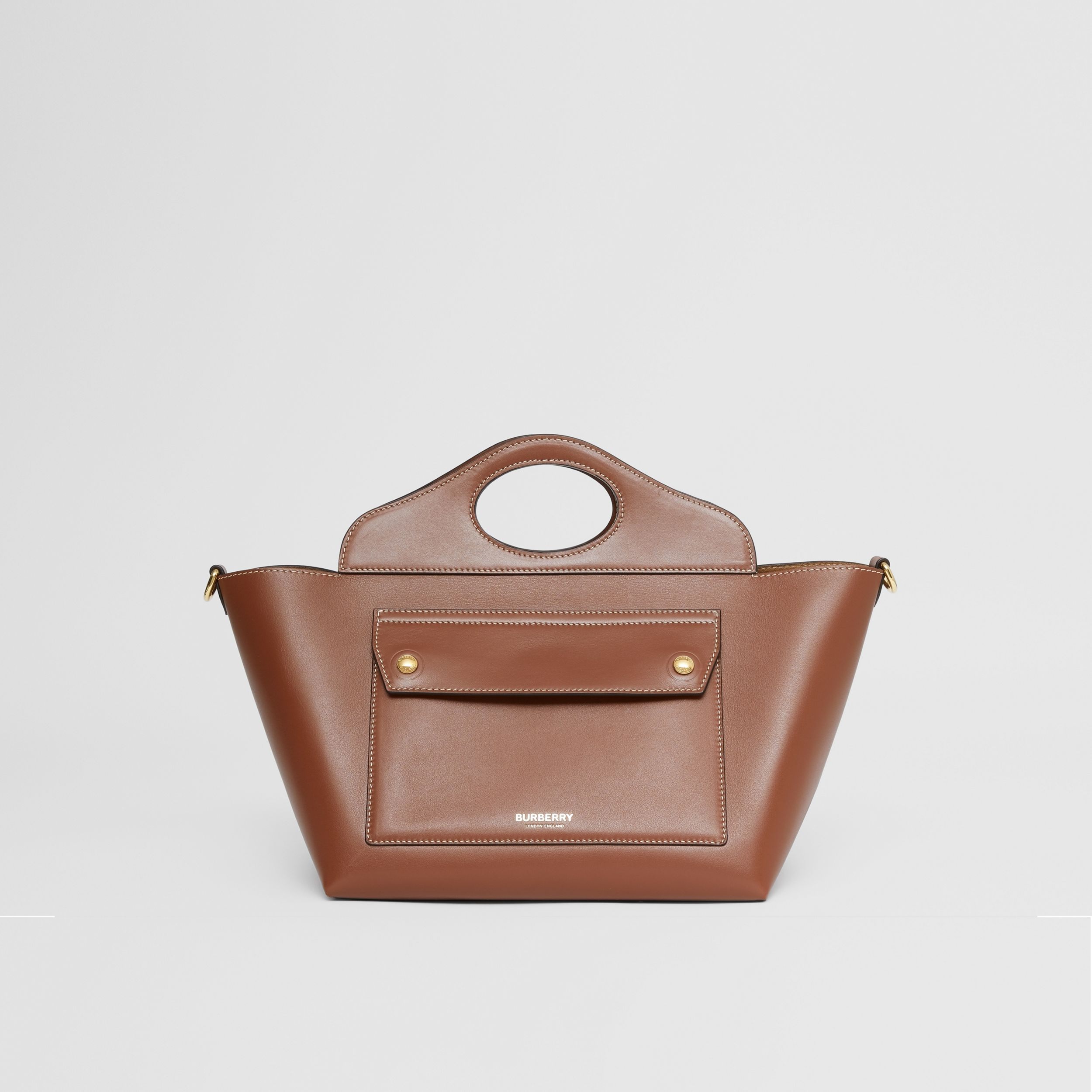 Mini Leather Soft Pocket Tote in Tan - Women | Burberry - 1