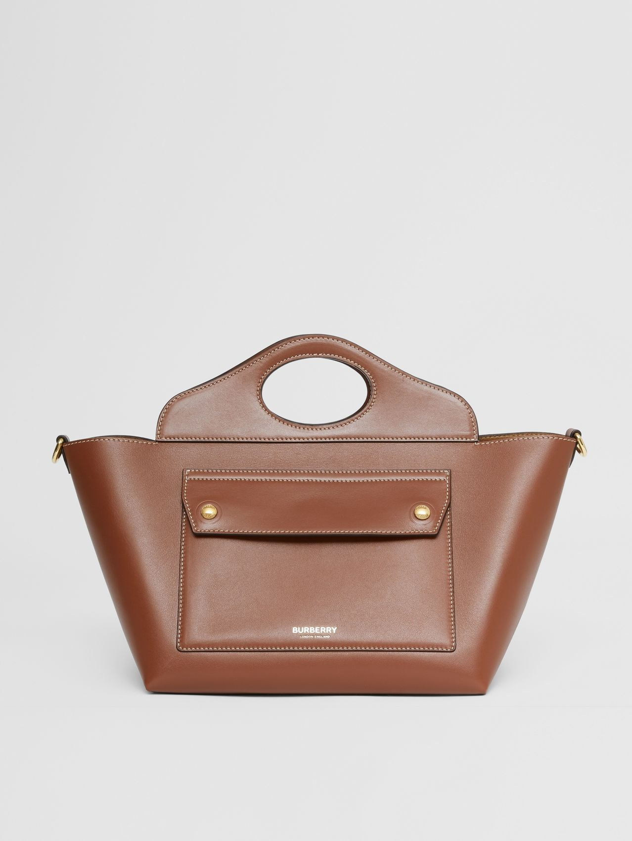 Mini Leather Soft Pocket Tote in Tan