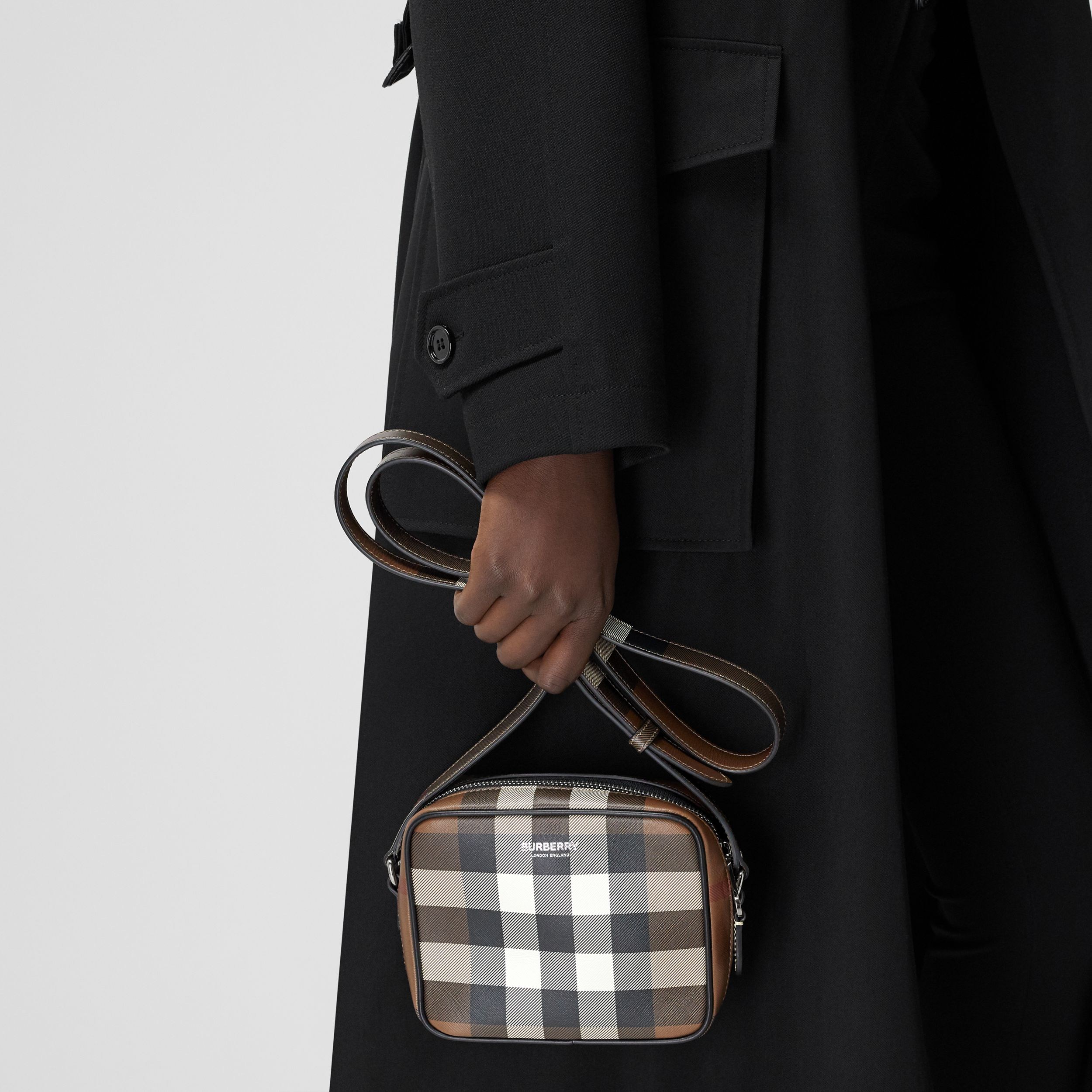 Check Print Leather Crossbody Bag in Dark Birch Brown | Burberry - 3