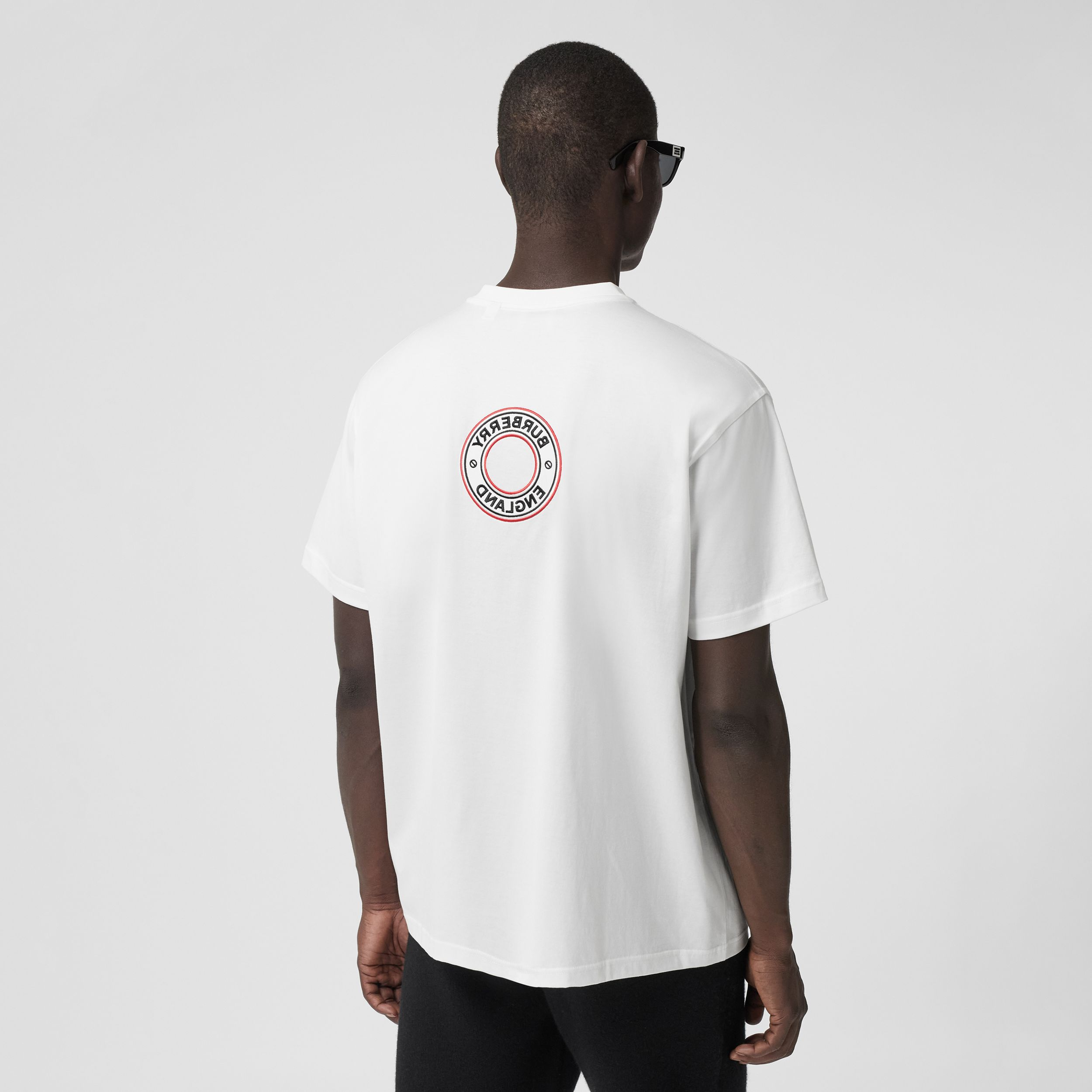Logo Graphic Appliqué Cotton Oversized T-shirt in White - Men | Burberry - 3