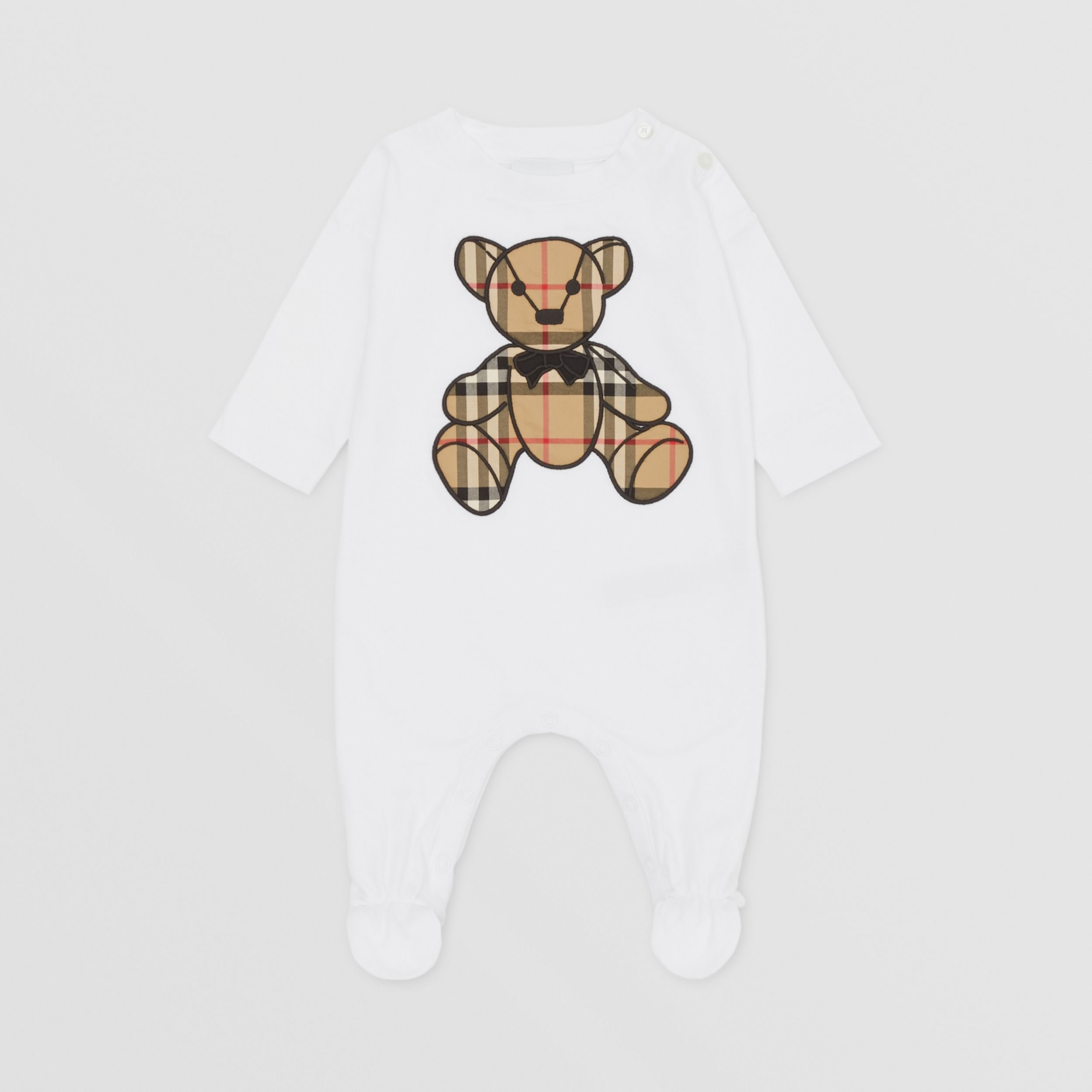 Thomas Bear Appliqué Organic Cotton All-in-one in White - Children | Burberry - 3