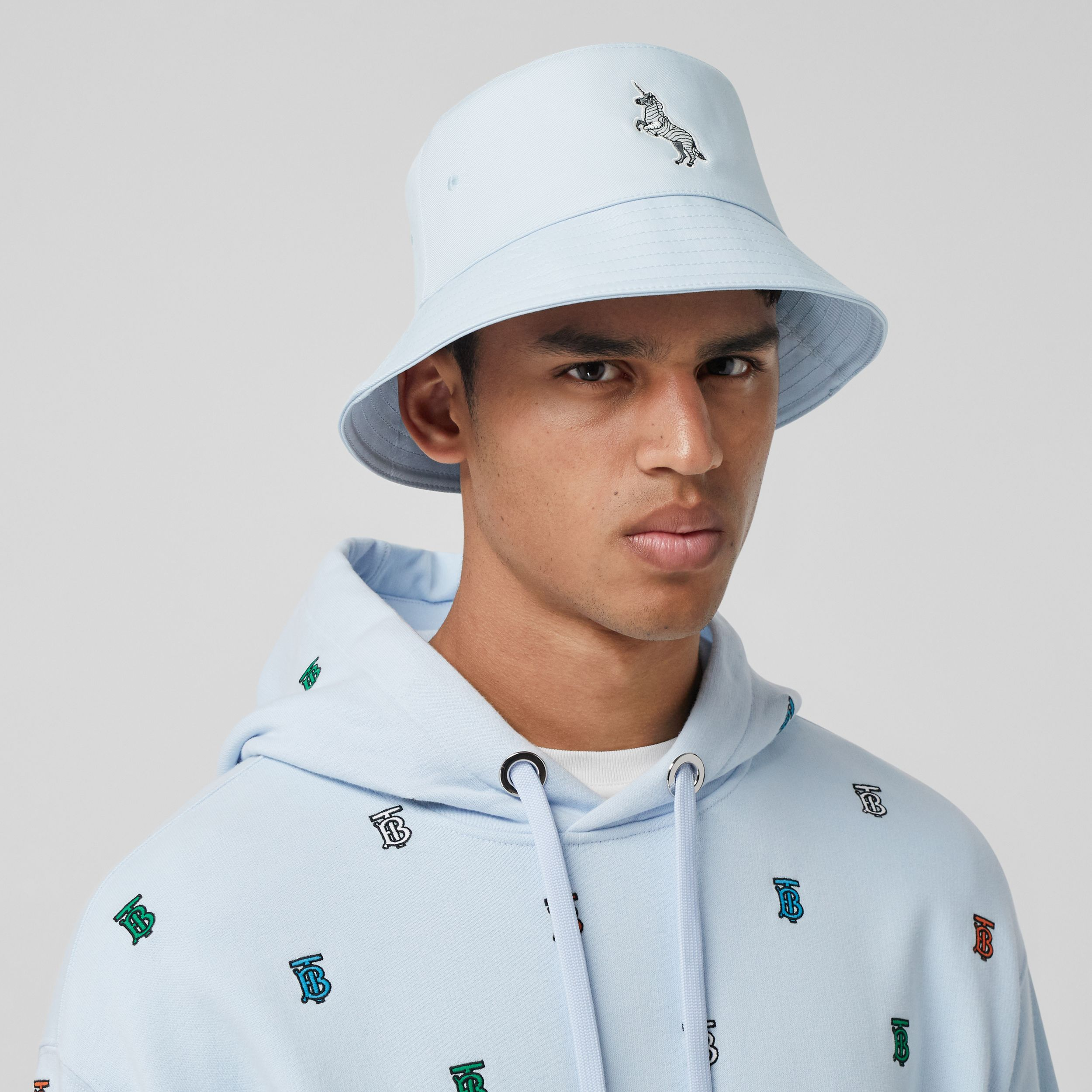 Zebra Appliqué Cotton Twill Bucket Hat in Pale Blue | Burberry - 4