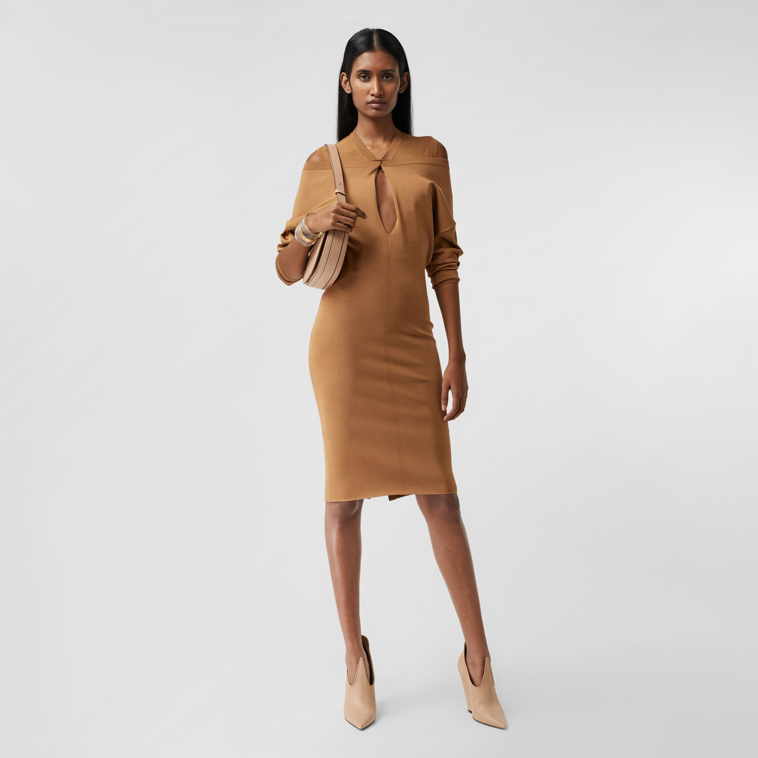 Long-sleeve Cut-out Detail Knitted Dress in Camel - Women | Burberry - 1