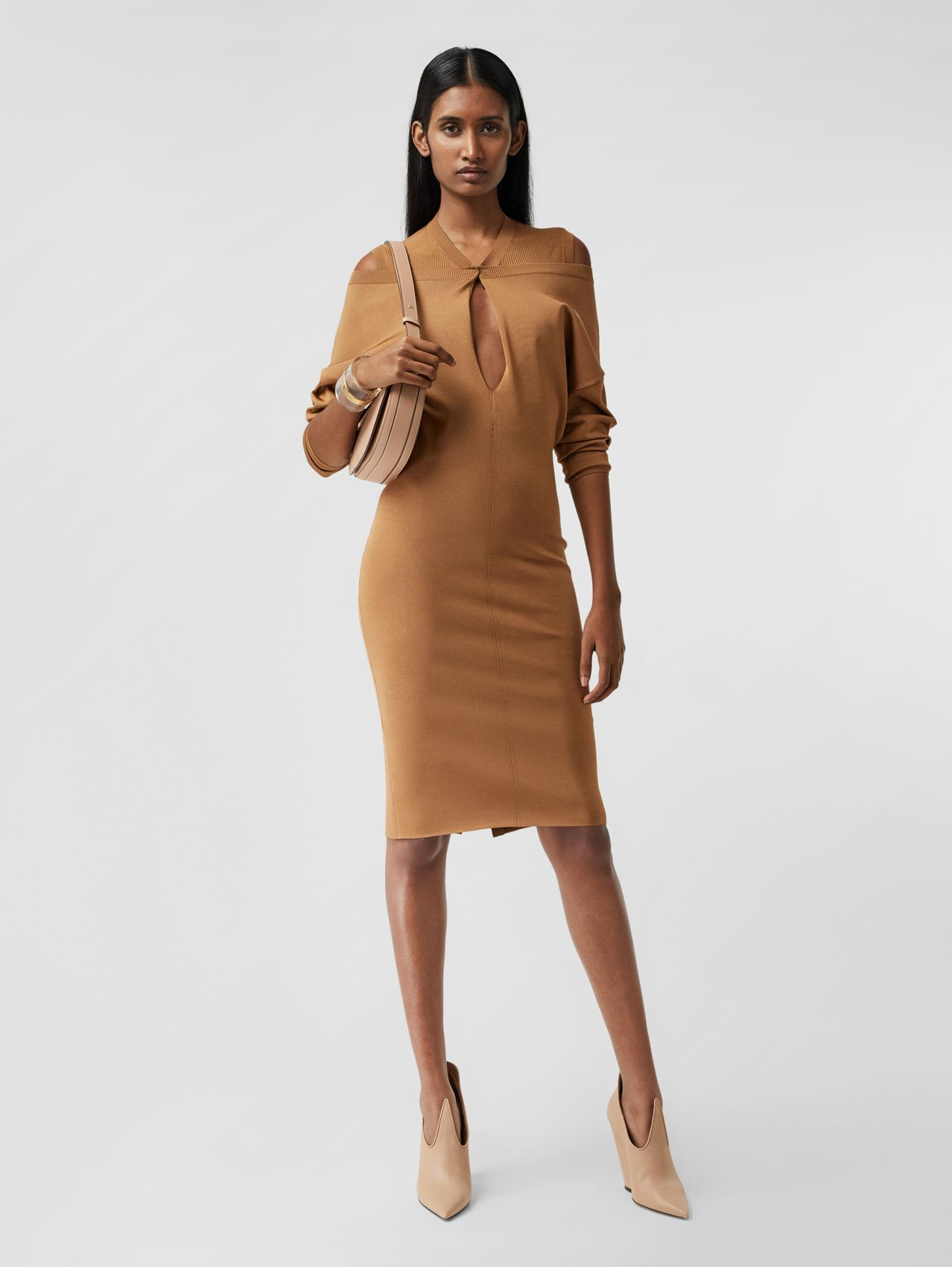Long-sleeve Cut-out Detail Knitted Dress in Camel