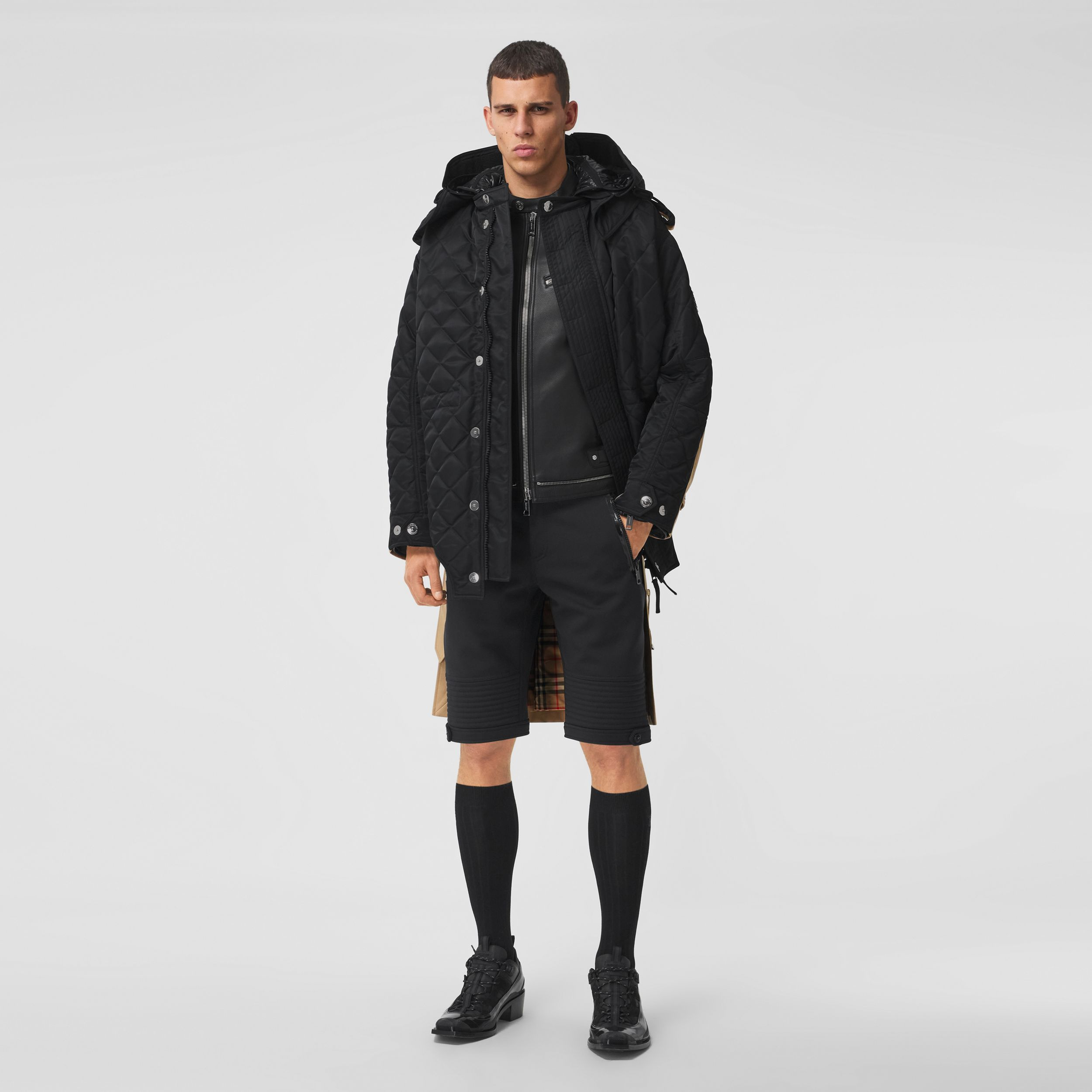 Detachable Hood Quilted Nylon and Cotton Coat in Black | Burberry - 1