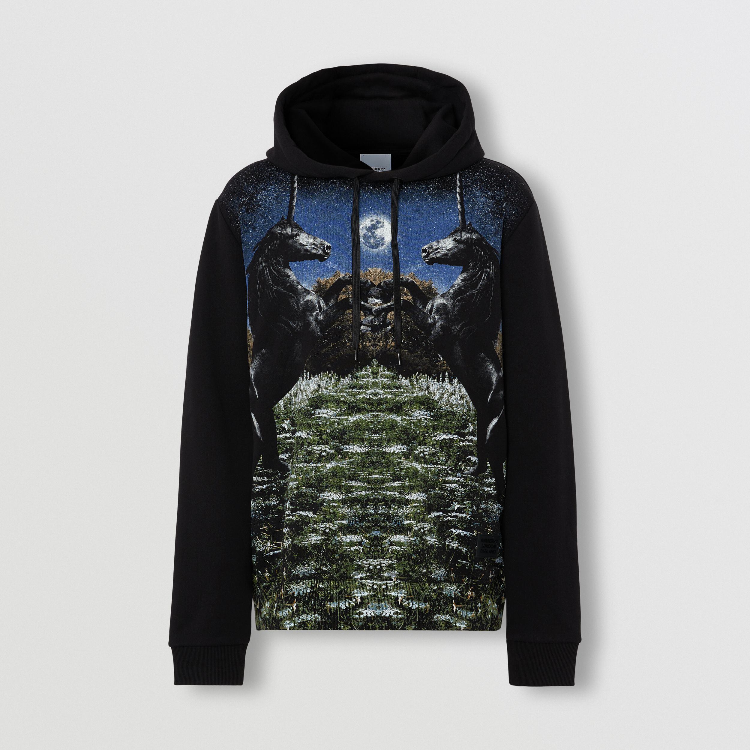 Meadow Print Cotton Hoodie in Black - Men | Burberry - 4