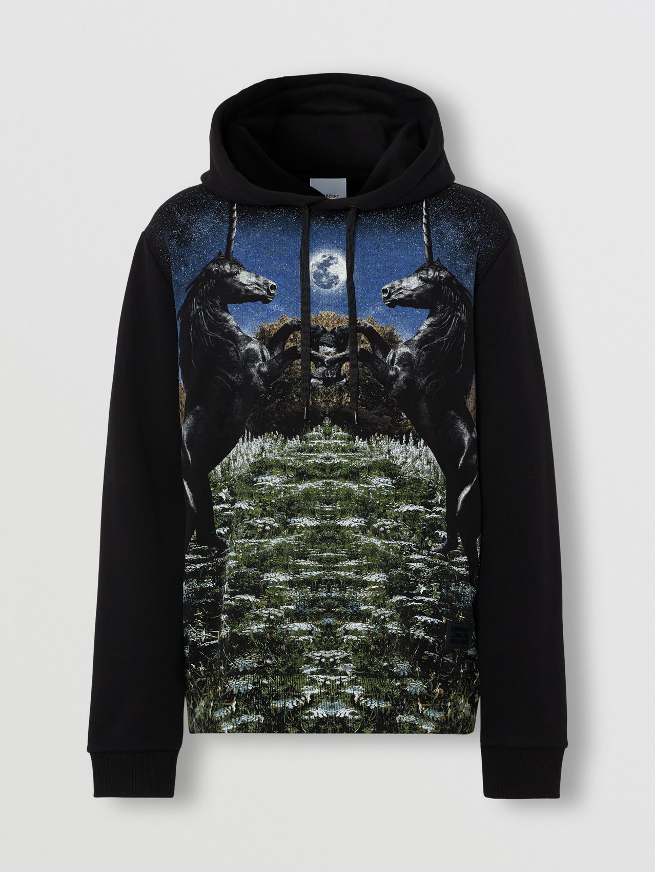 Meadow Print Cotton Hoodie in Black