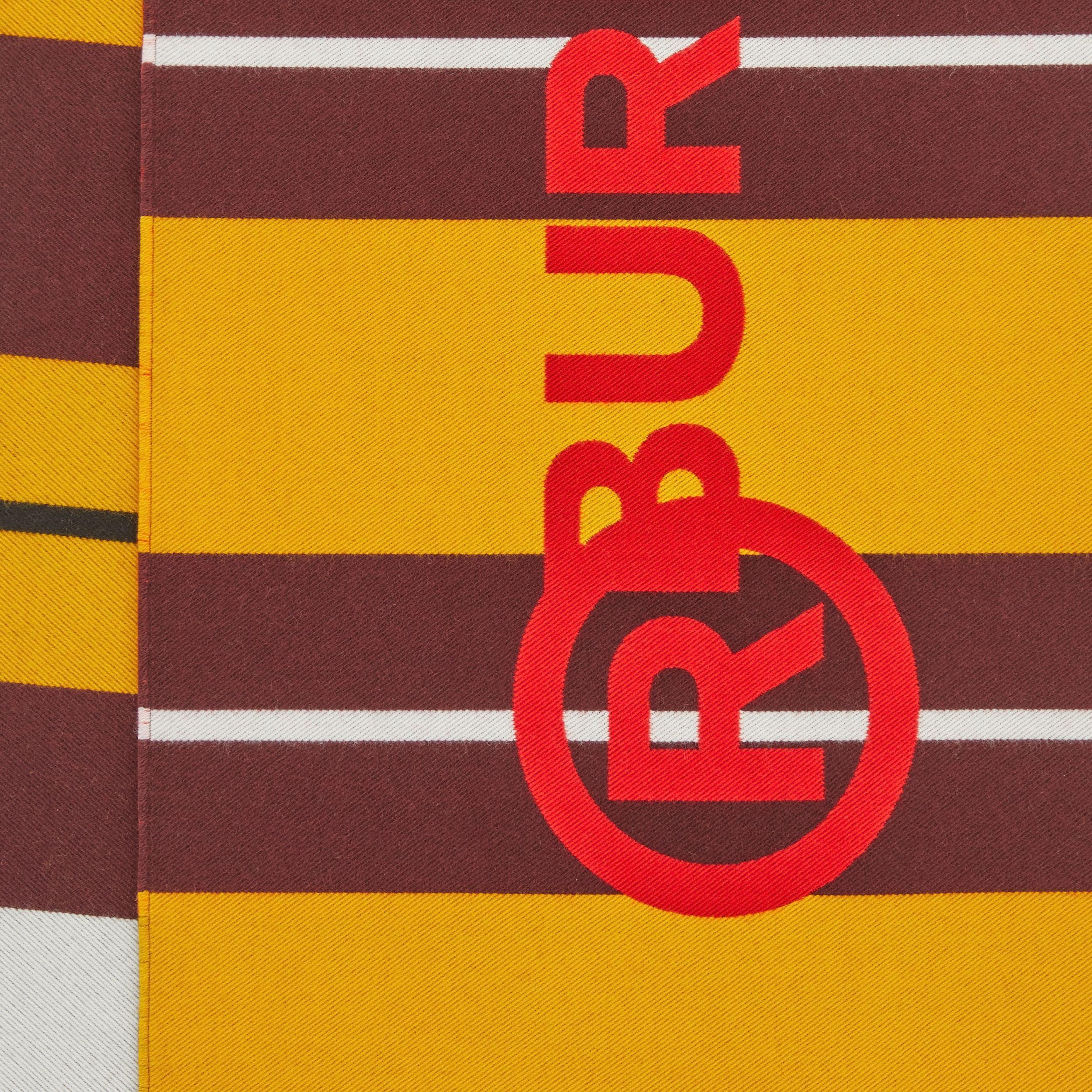 Striped Logo Wool Silk Jacquard Scarf in Citrus Orange | Burberry United States - 2