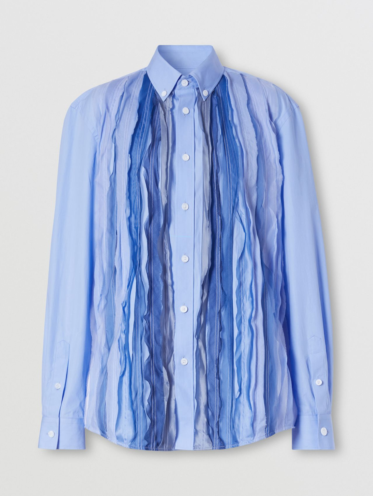 Silk Pleat Detail Cotton Shirt in Vivid Cobalt