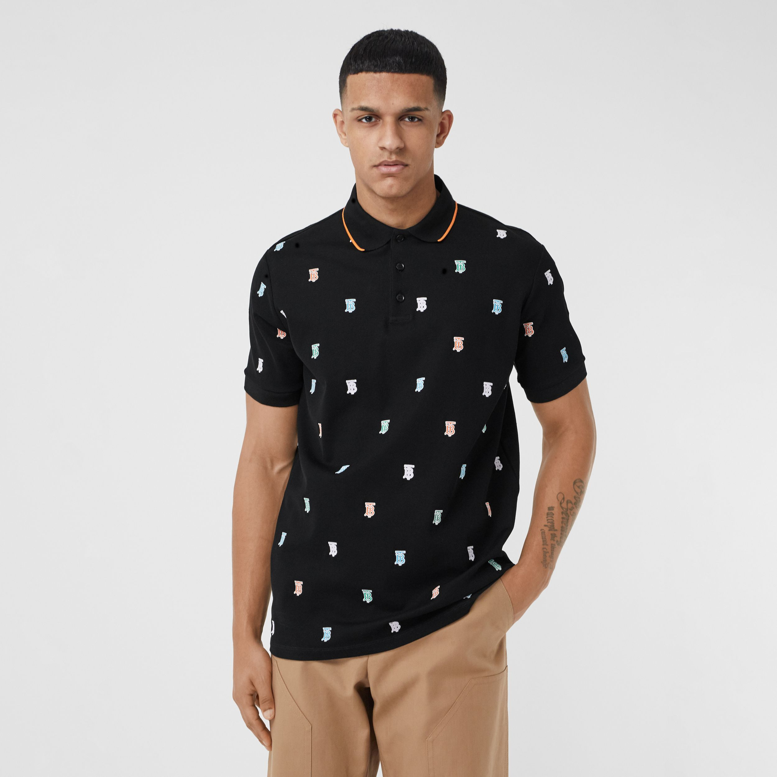 Monogram Motif Cotton Piqué Polo Shirt in Black - Men | Burberry - 1