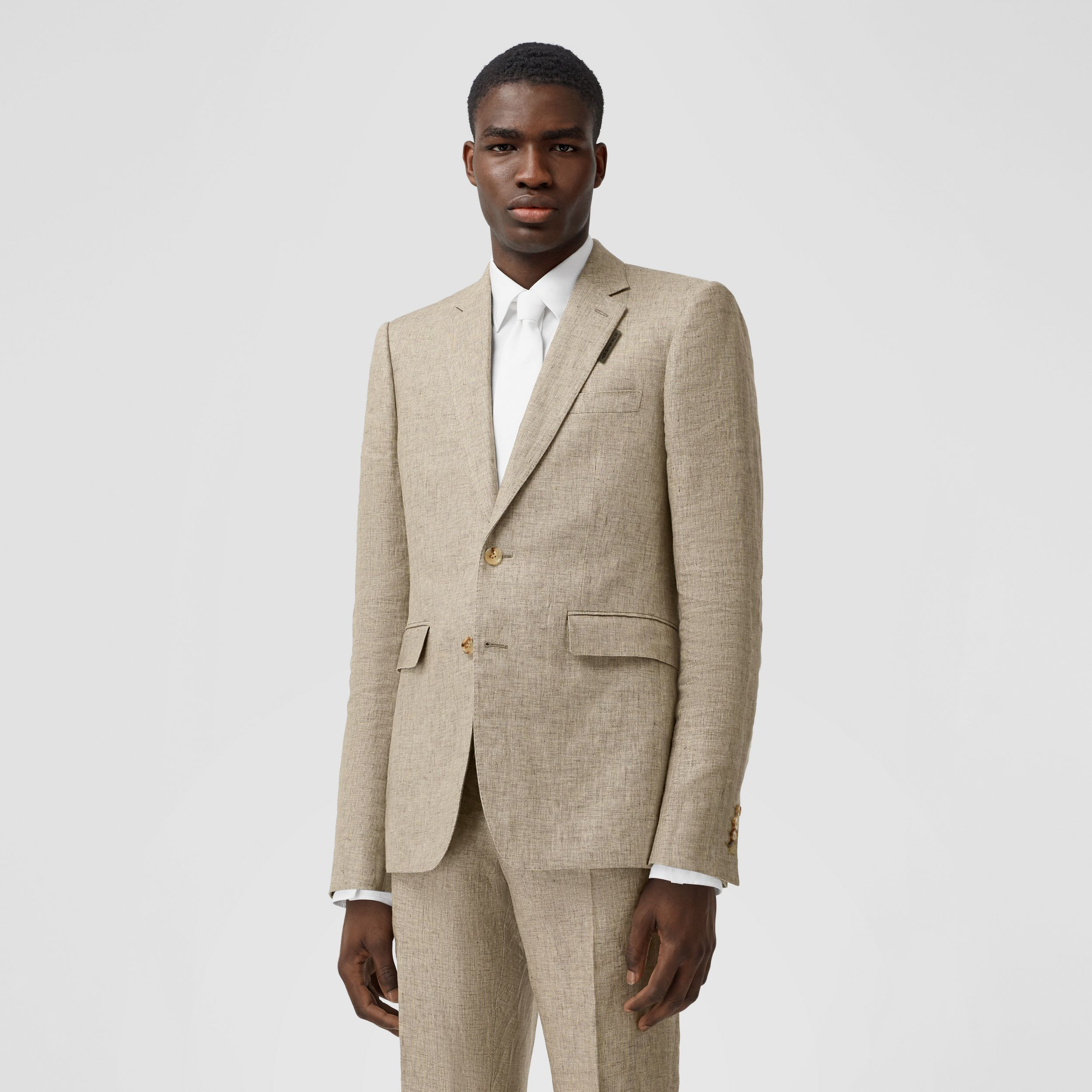 Classic Fit Linen Tailored Jacket in Cedar Brown Melange - Men | Burberry Singapore - 1